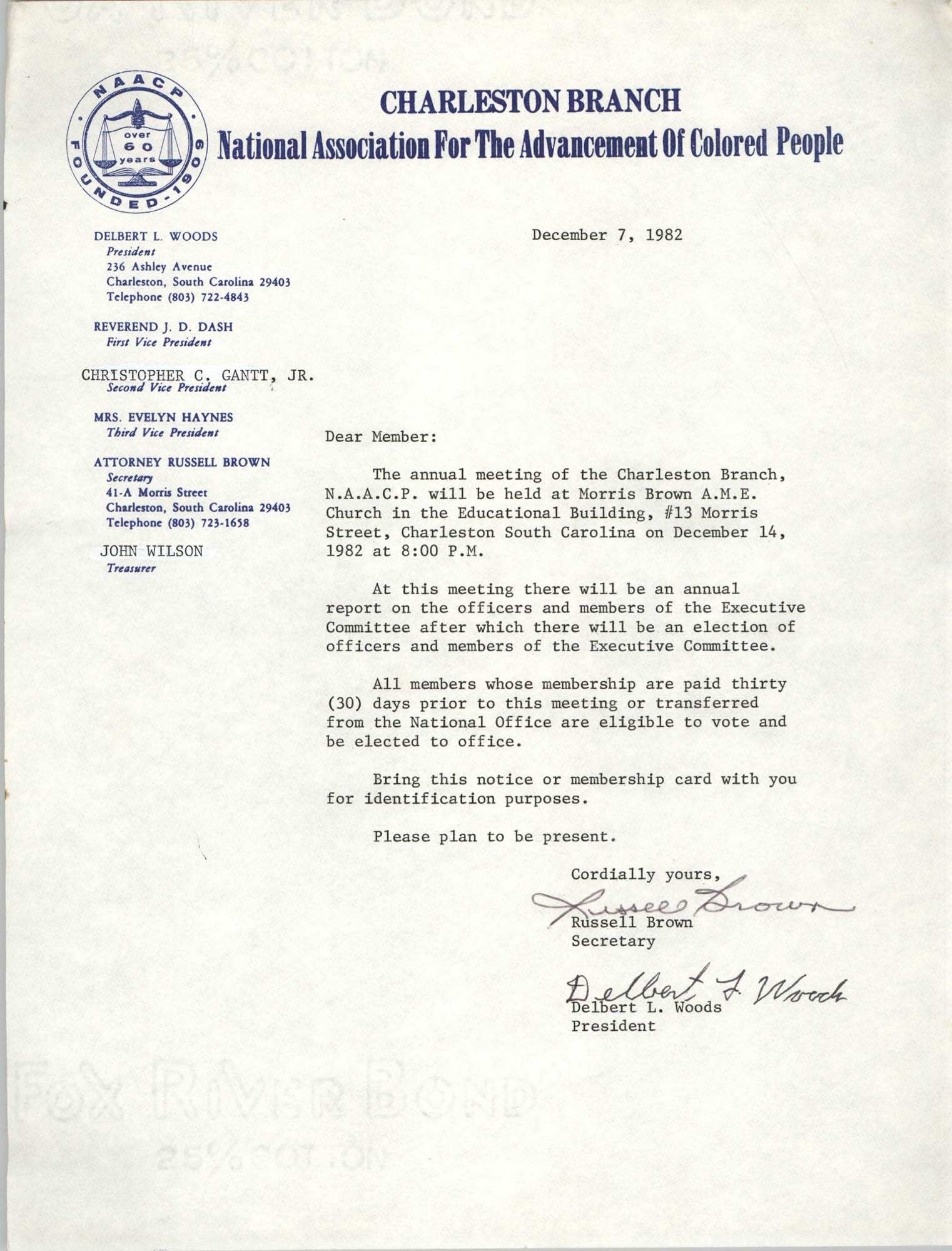 Letter from Russell Brown and Delbert L. Woods to Charleston Branch of the NAACP Members, December 7, 1982
