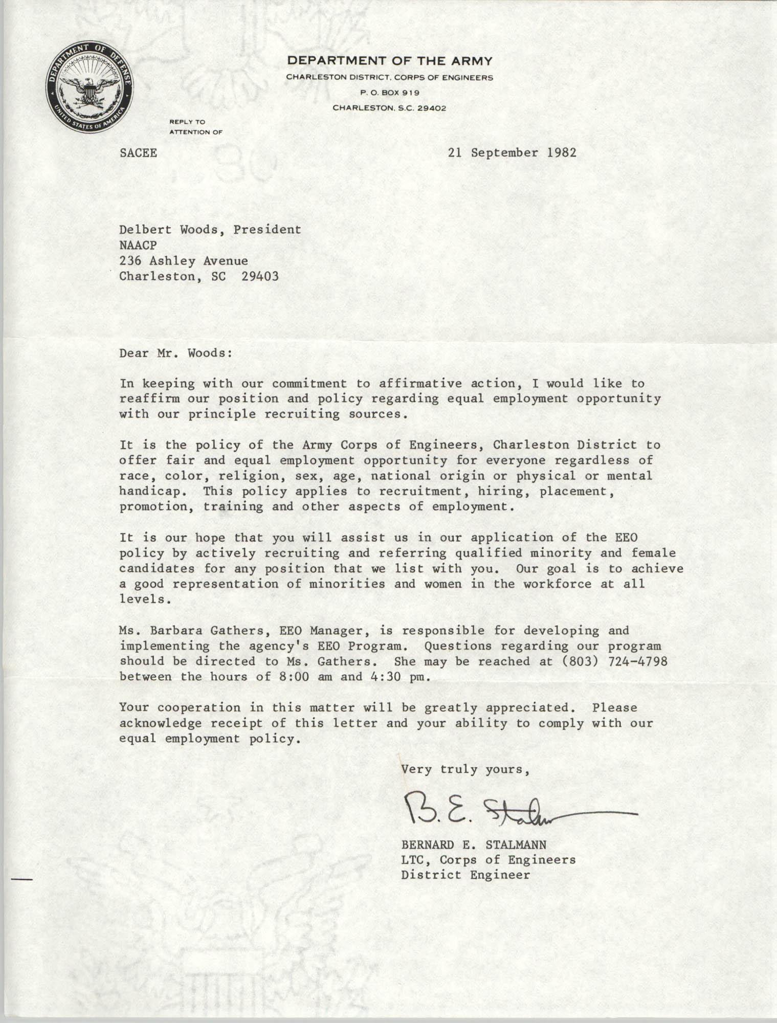 Letter from Bernard E. Stalmann to Delbert Woods, September 21, 1982