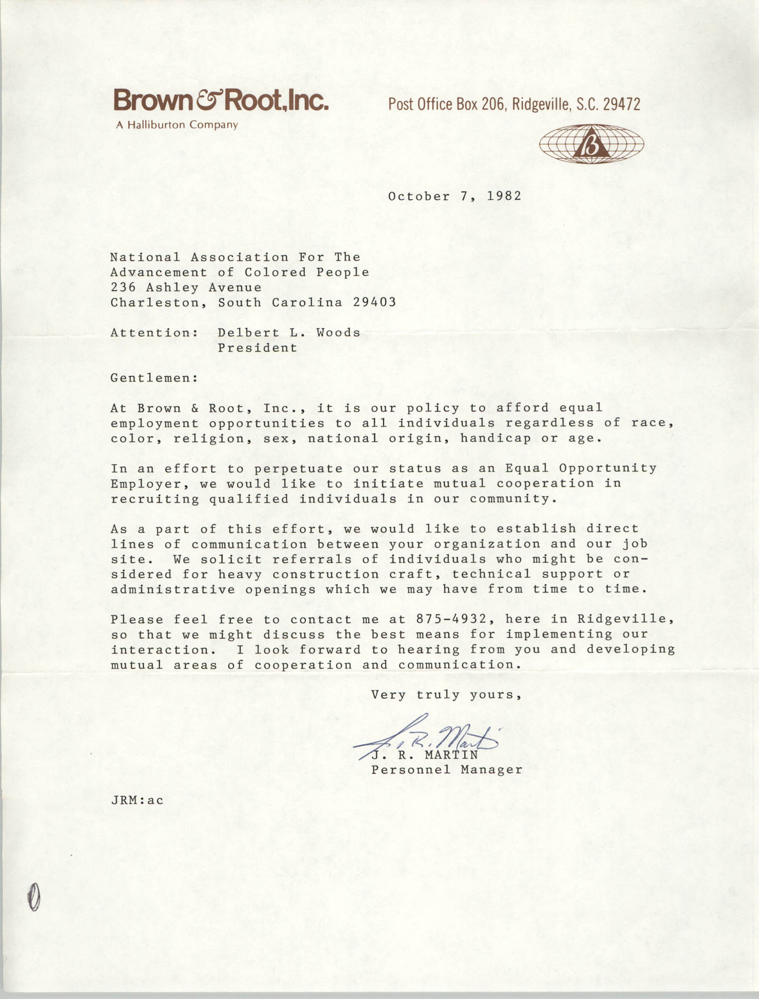 Letter from J. R. Martin to the Charleston Chapter of the NAACP, October 7, 1982