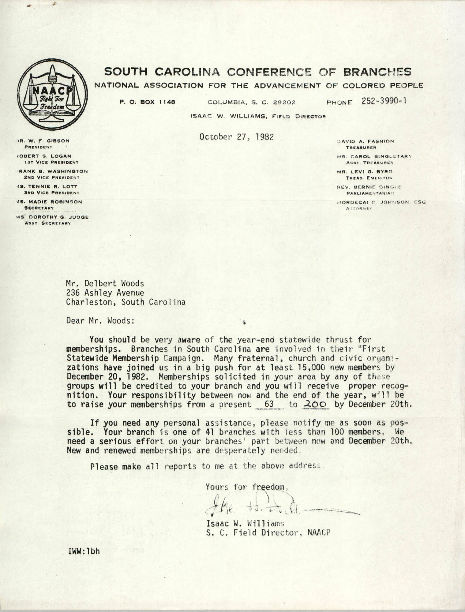 Letter from Isaac W. Williams to Delbert Woods, October 27, 1982