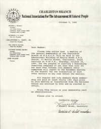 Letter from Russell Brown to Charleston Branch of the NAACP Members, October 5, 1982