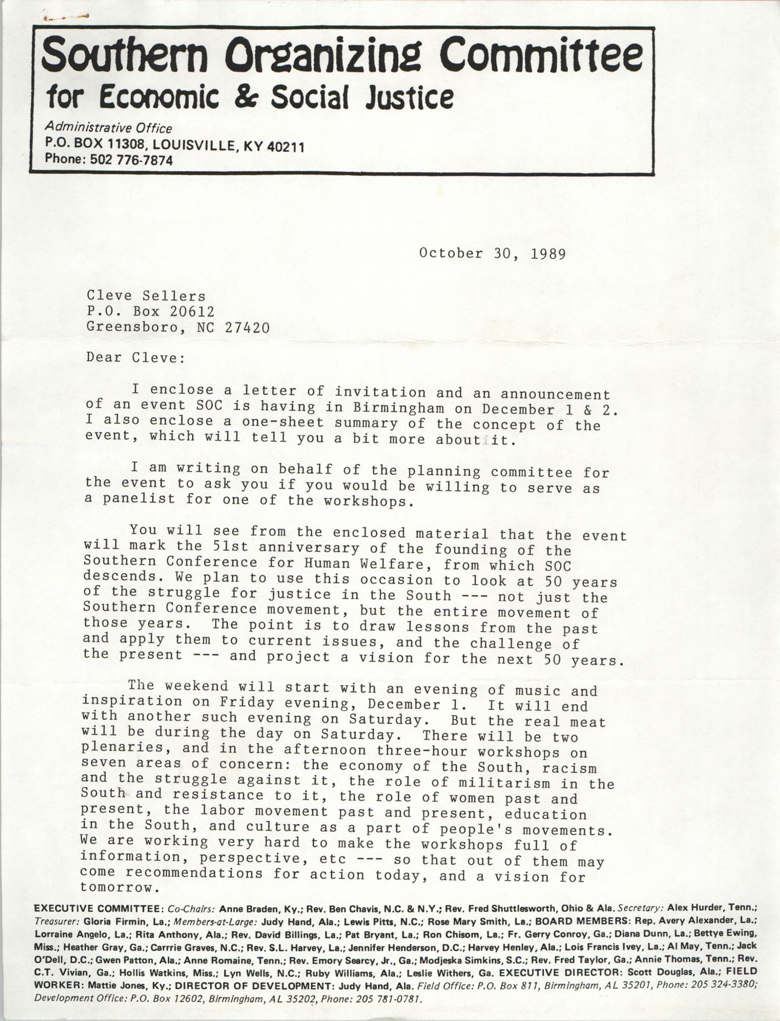 Letter from Anne Braden to Cleveland Sellers, October 30, 1989