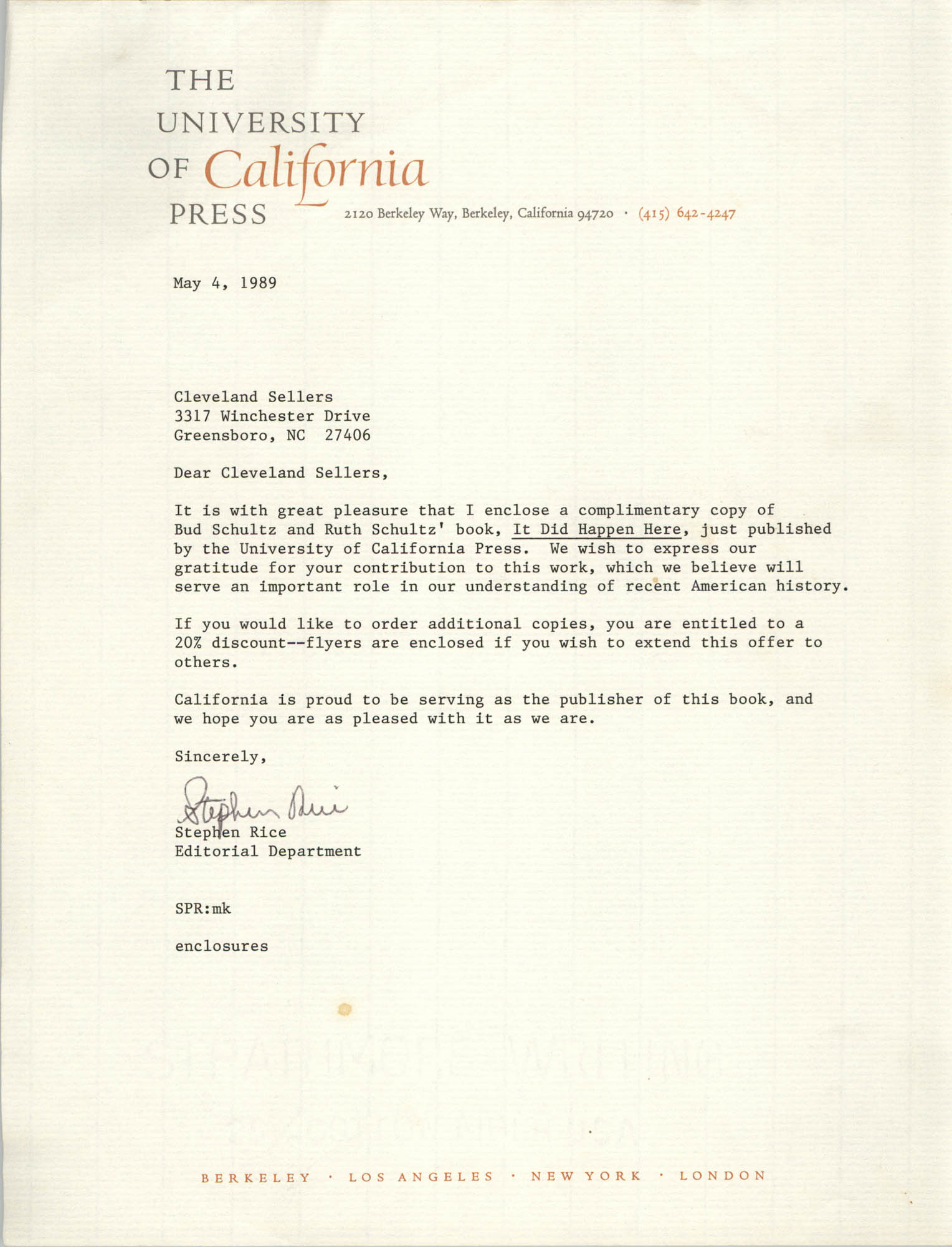 Letter from Stephen Rice to Cleveland Sellers, May 4, 1989