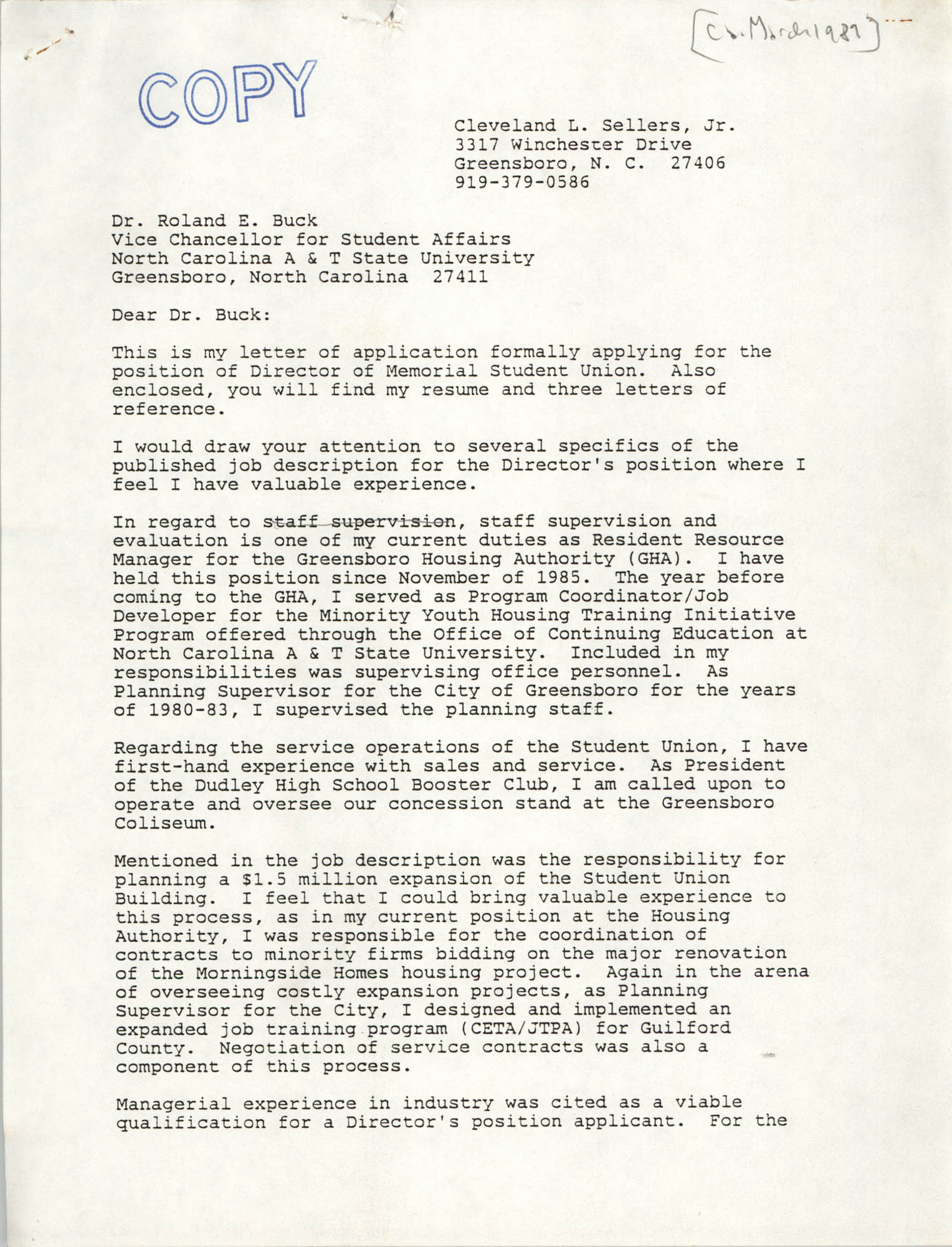 Letter from Cleveland Sellers to Roland E. Buck, March 1989