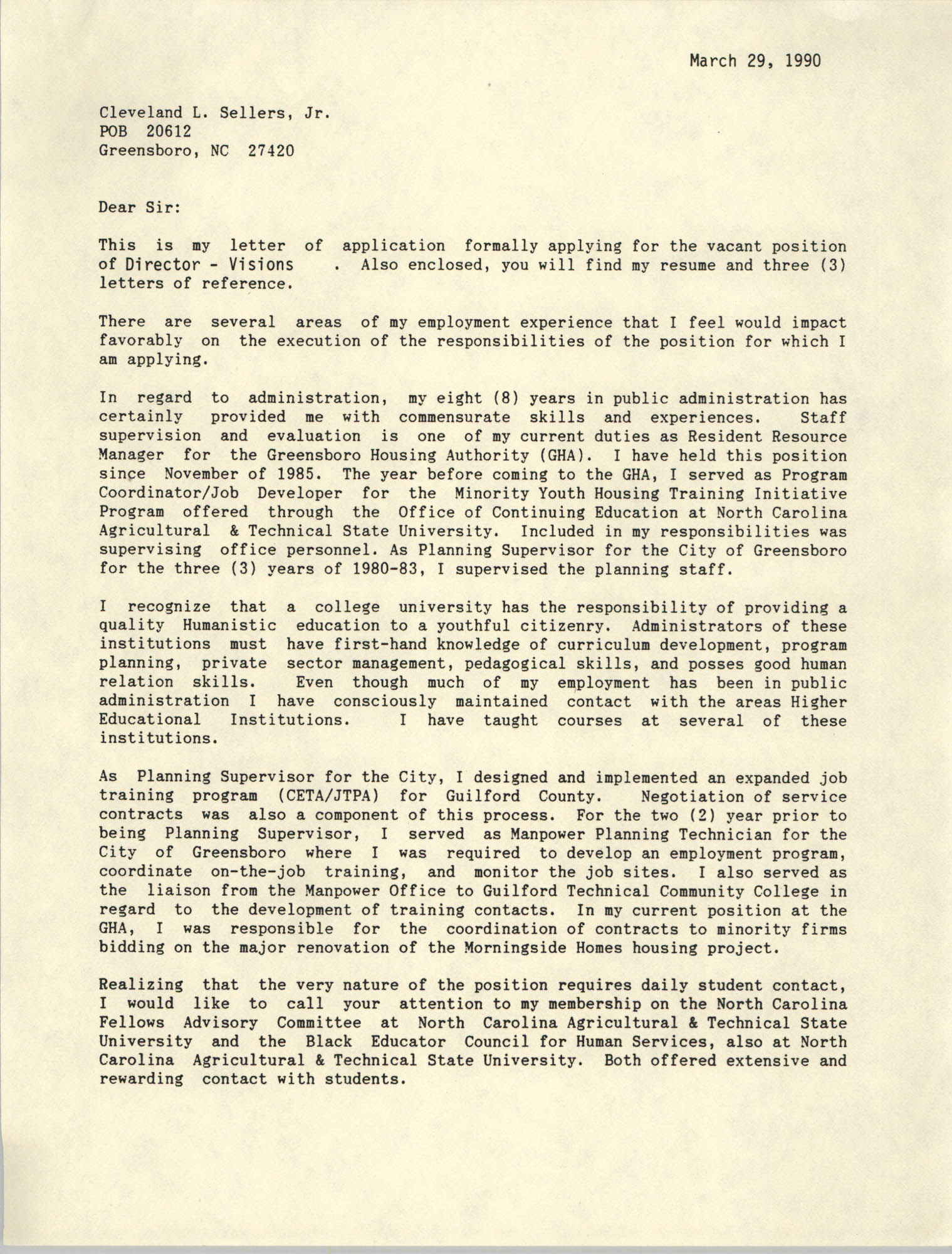Letter from Cleveland Sellers, March 29, 1990
