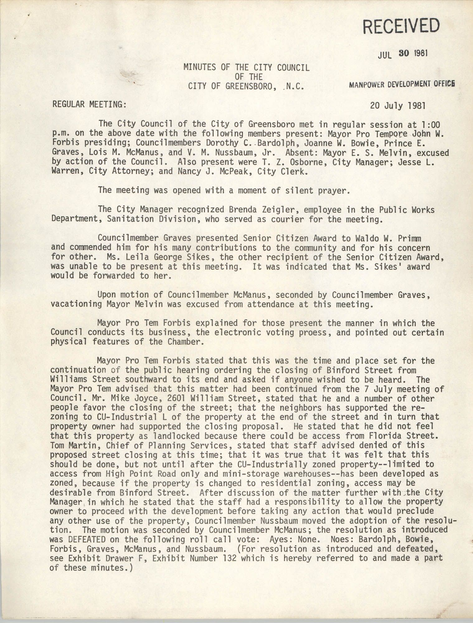 Minutes of the City Council of the City of Greensboro, N.C., July 20, 1981