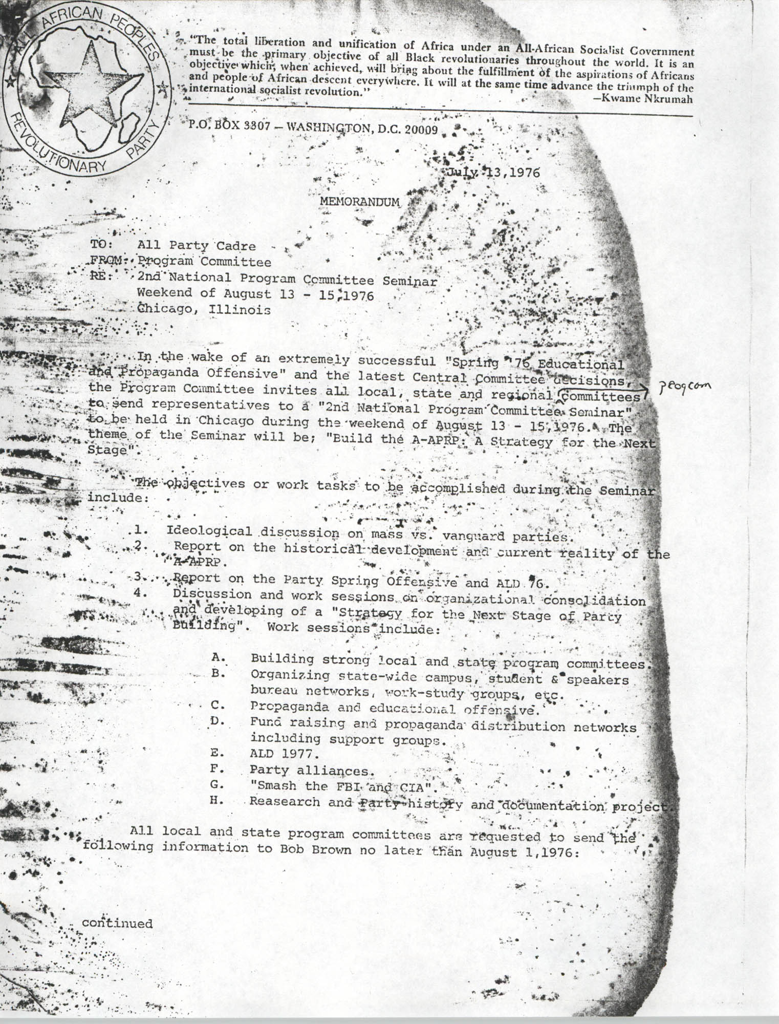 All African People's Revolutionary Party Memorandum, July 13, 1976
