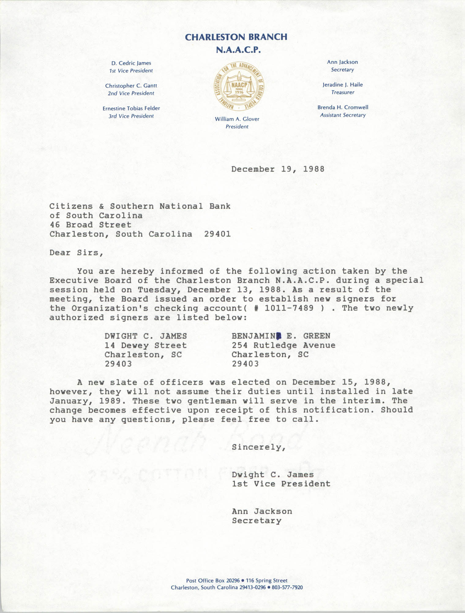 Letter from Dwight C. James and Ann Jackson to Citizens and Southern National Bank, December 19, 1988