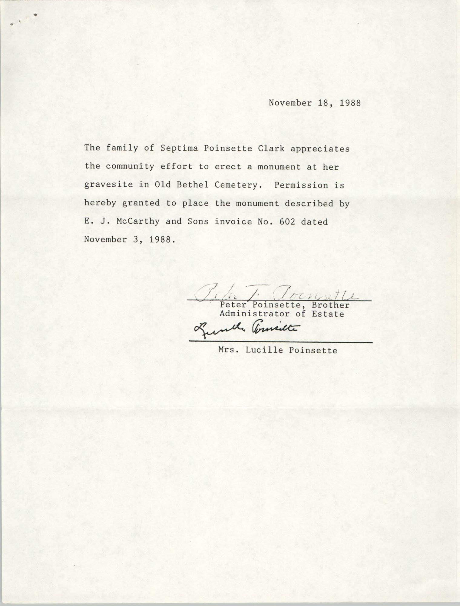 Letter from Poinsette Family, November 18, 1988