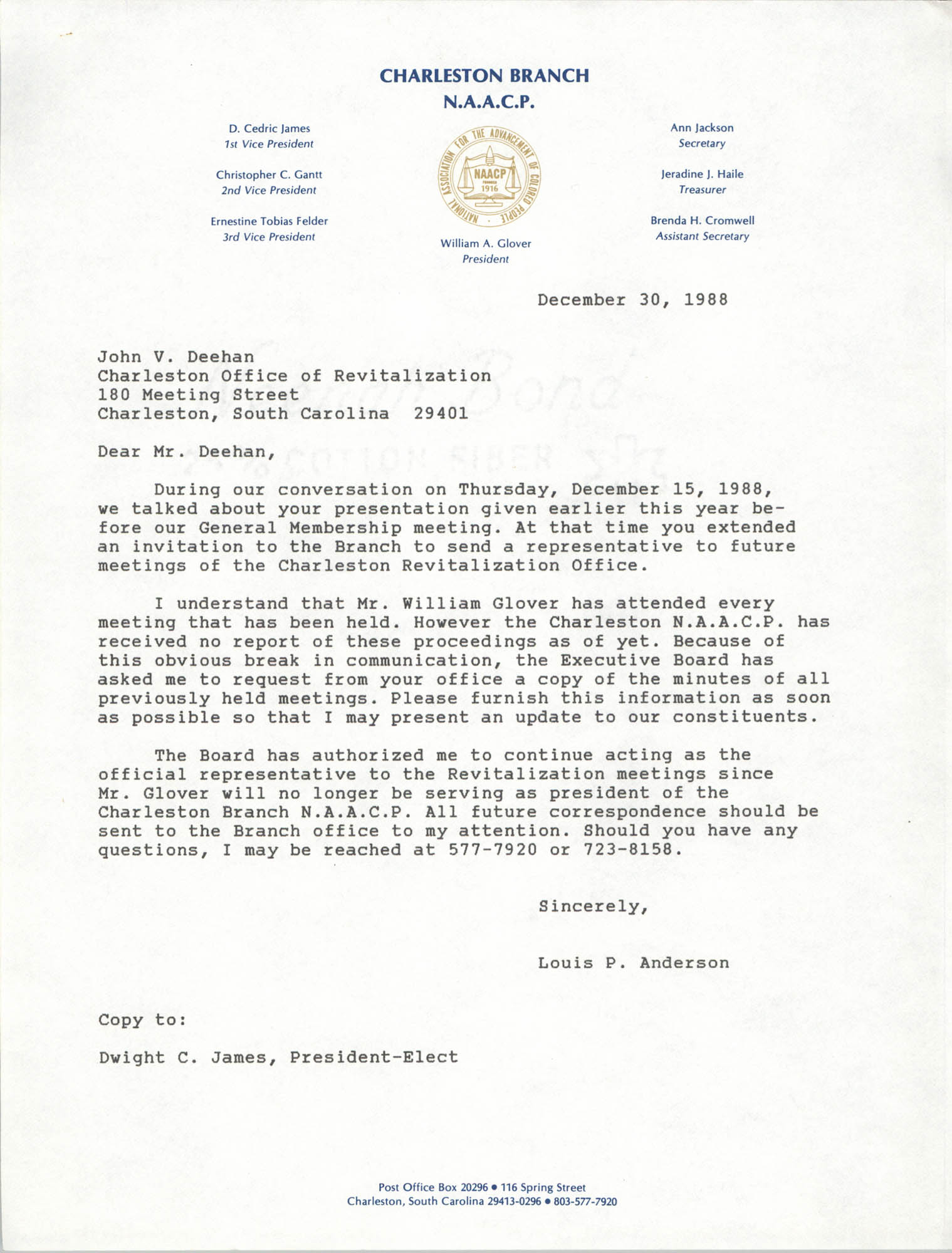 Letter from Louis P. Anderson to John V. Deehan, December 30, 1988