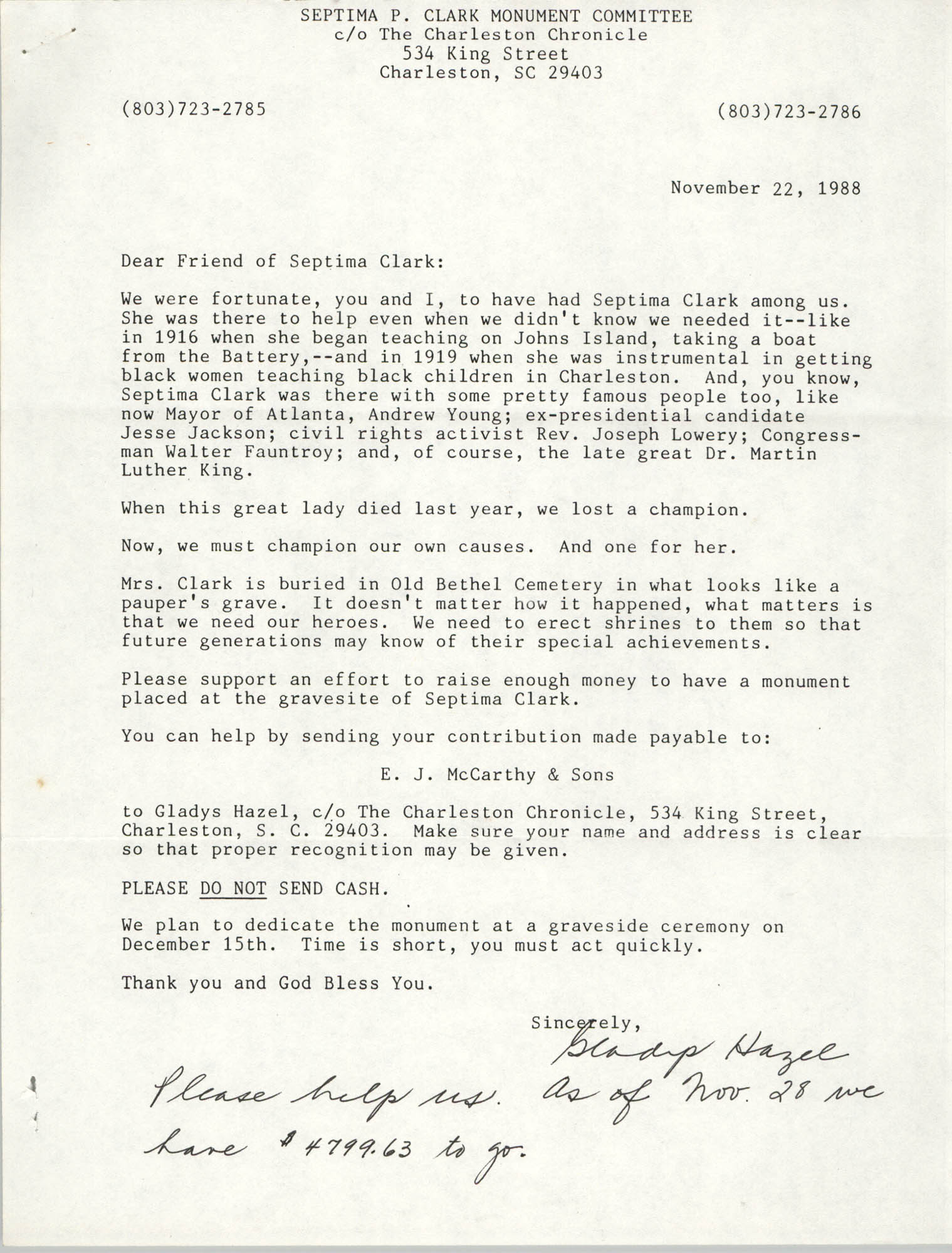 Letter from Gladys Hazel to Friends of Septima Clark, November 22, 1988