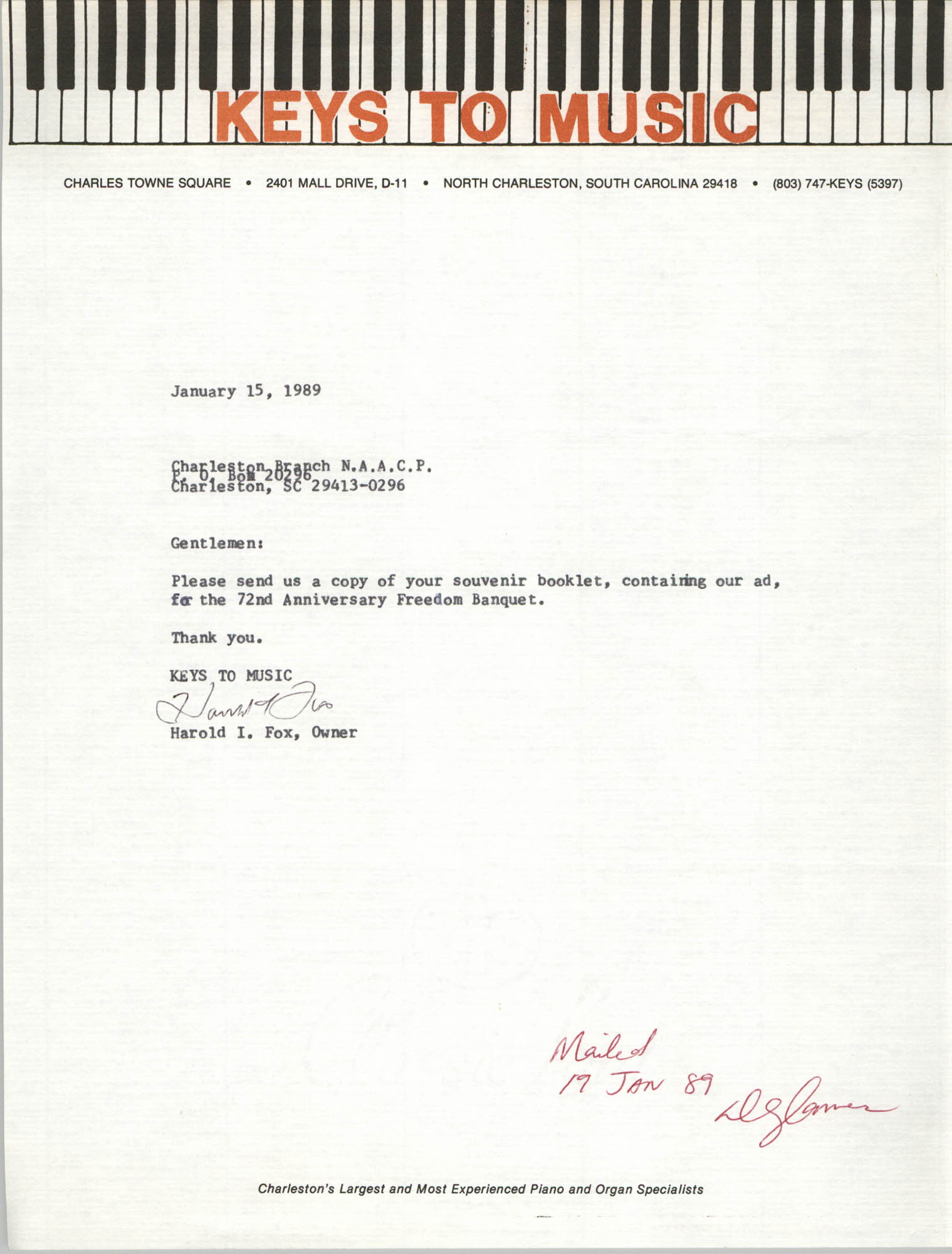 Letter from Harold I. Fox to Charleston Branch of the NAACP, January 15, 1989