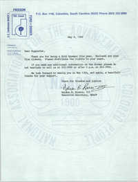 Letter from Nelson B. Rivers, III to Supporters, May 9, 1988