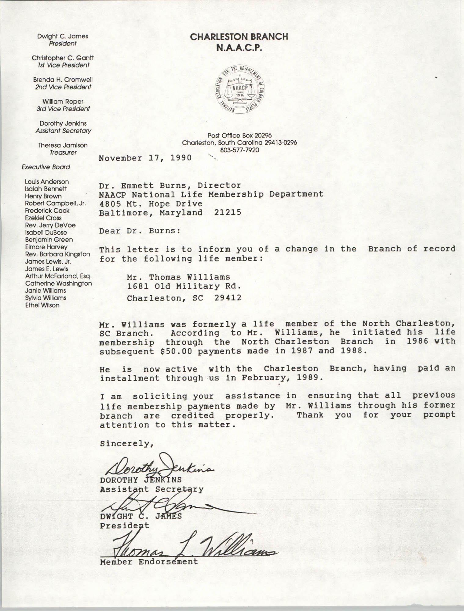 Letter from Dorothy Jenkins and Dwight C. James to Emmett Burns, November 17, 1990