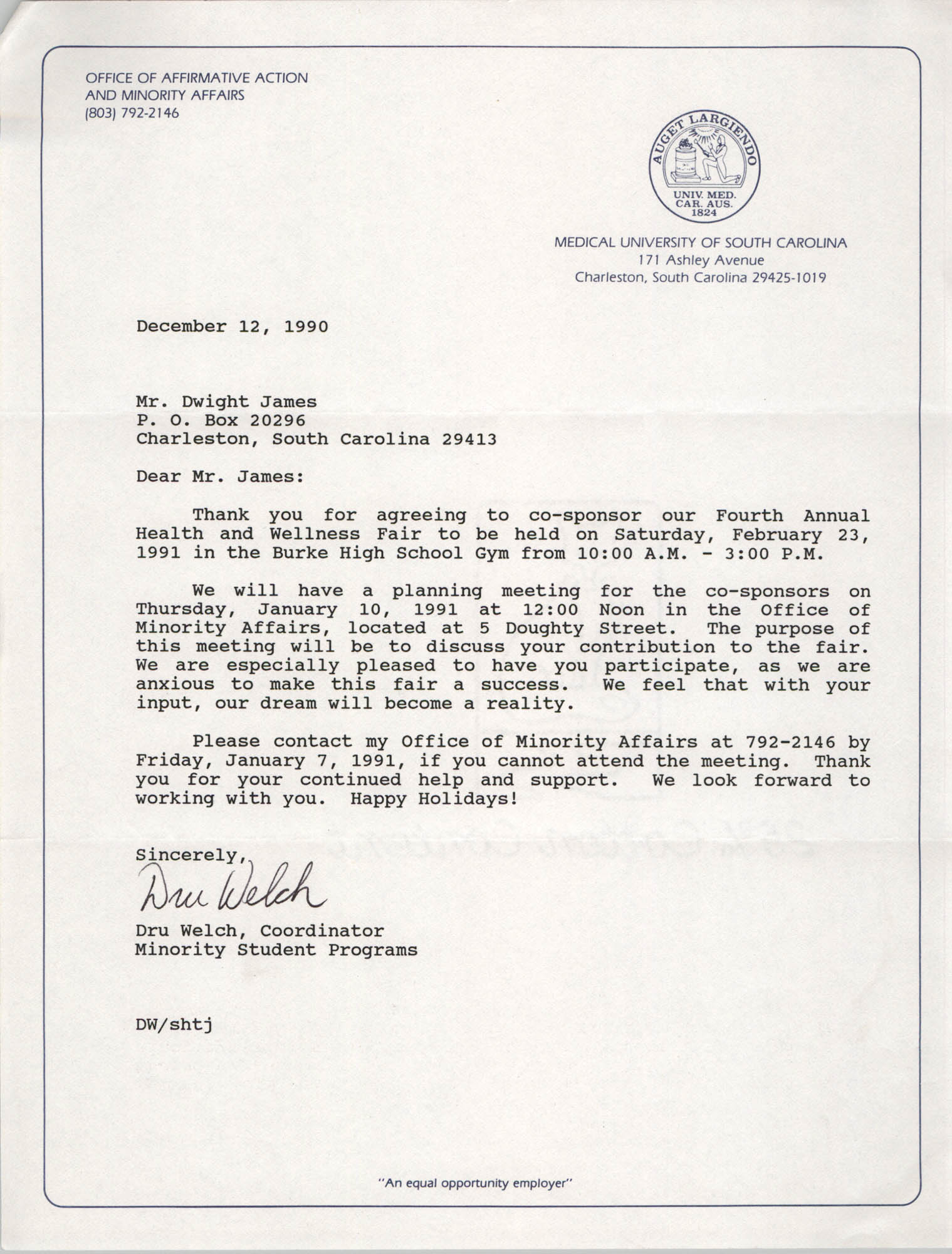 Letter from Dru Welch to Dwight James, December 12, 1990