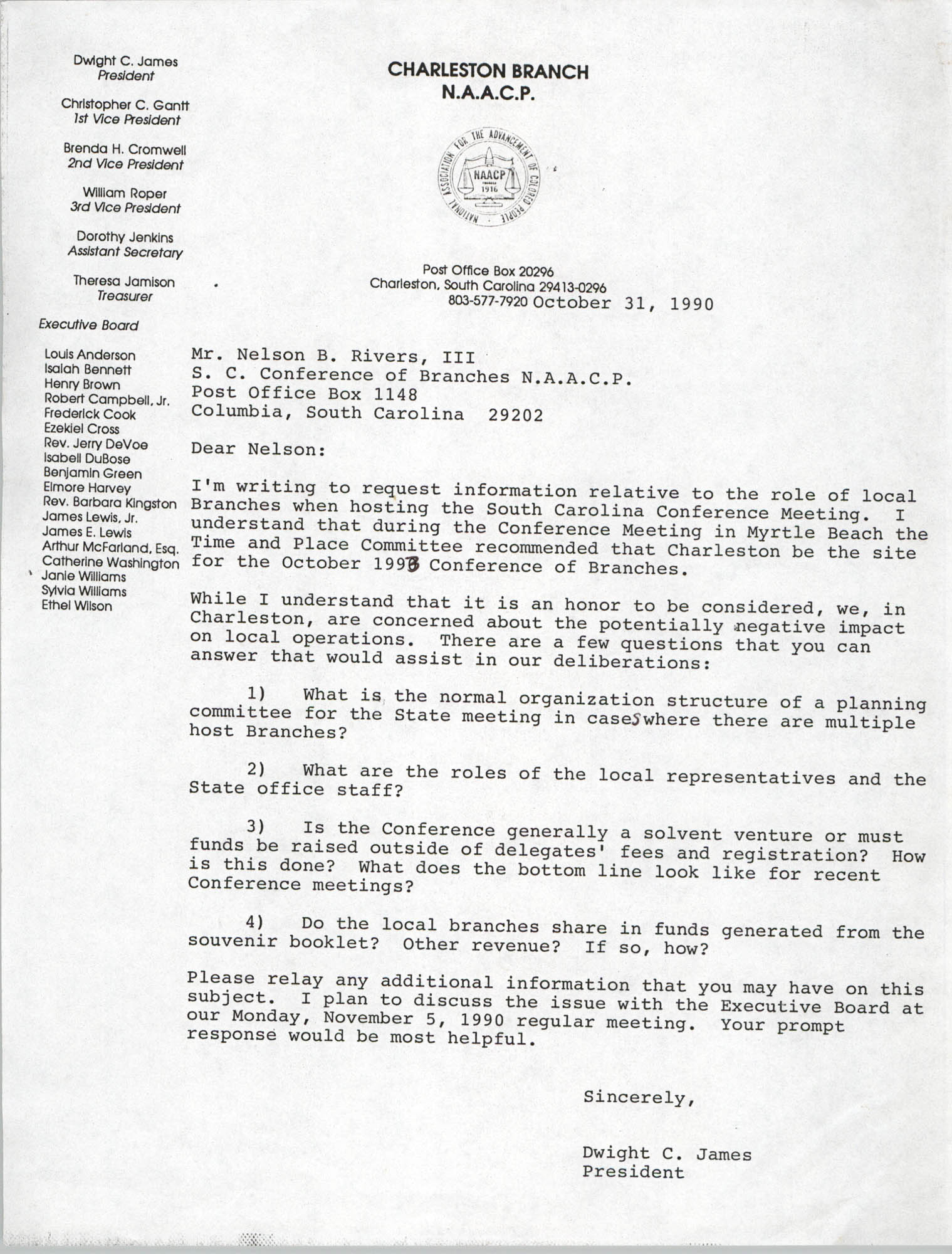Letter from Dwight C. James to Nelson B. Rives, III, October 31, 1990