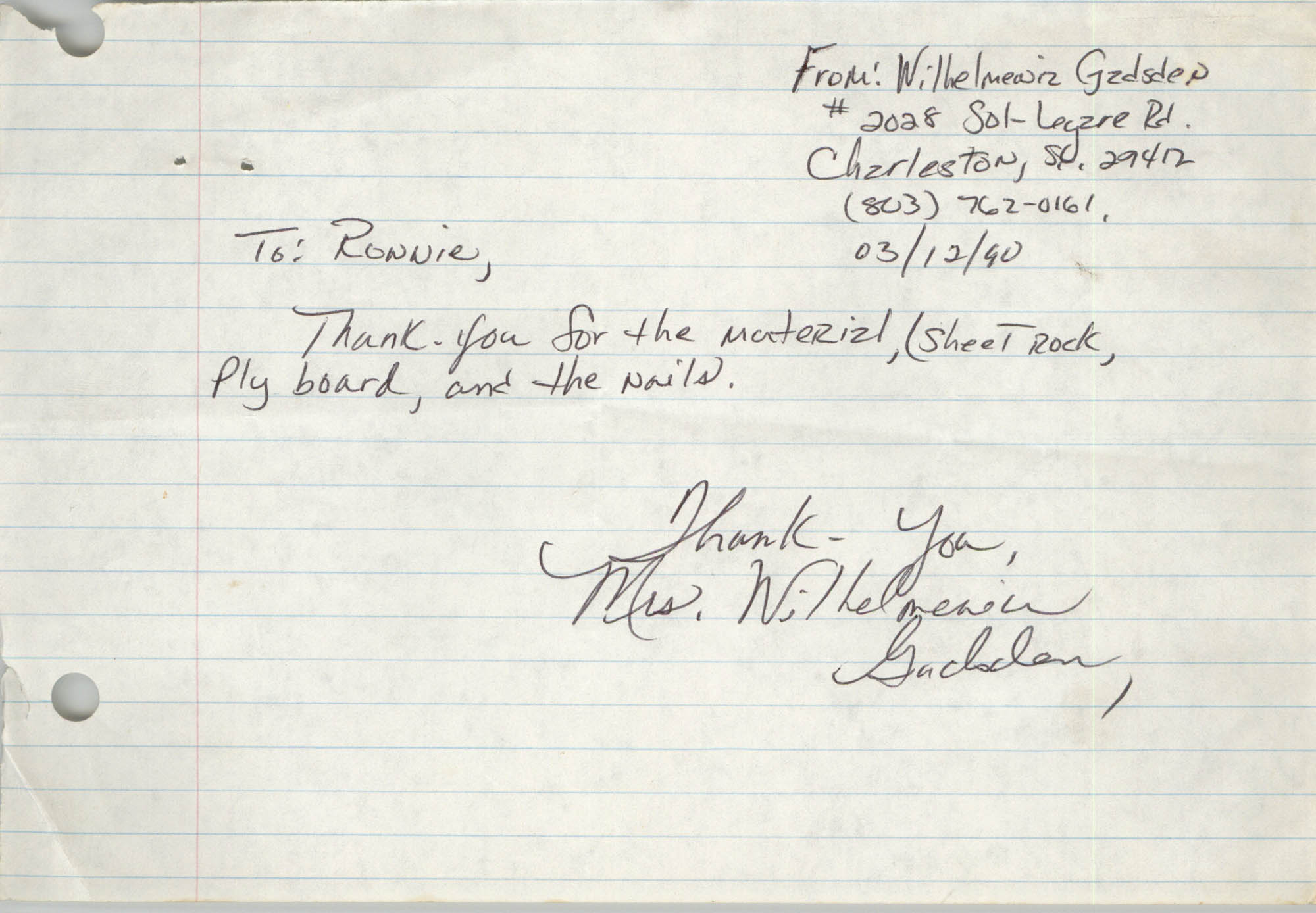 Letter from Wilhelmenia Gadsden, March 12, 1990