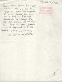 Letter from Louise Middleton to Dwight James, March 9, 1990