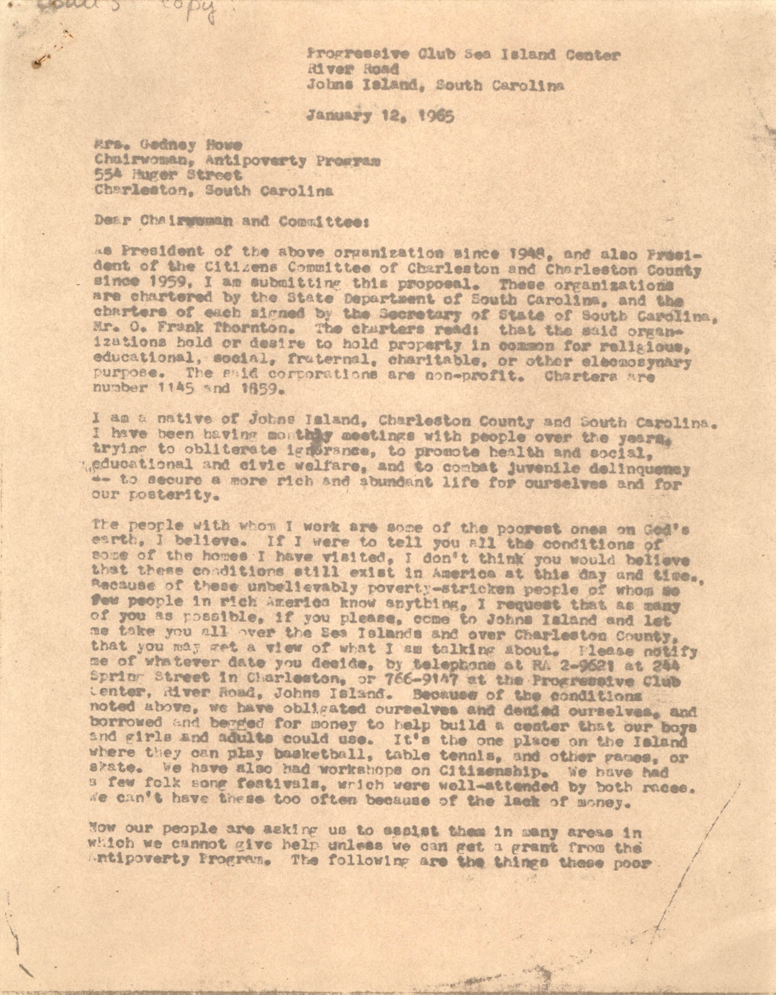 Progressive Club Sea Island Center Correspondence, January 12, 1965