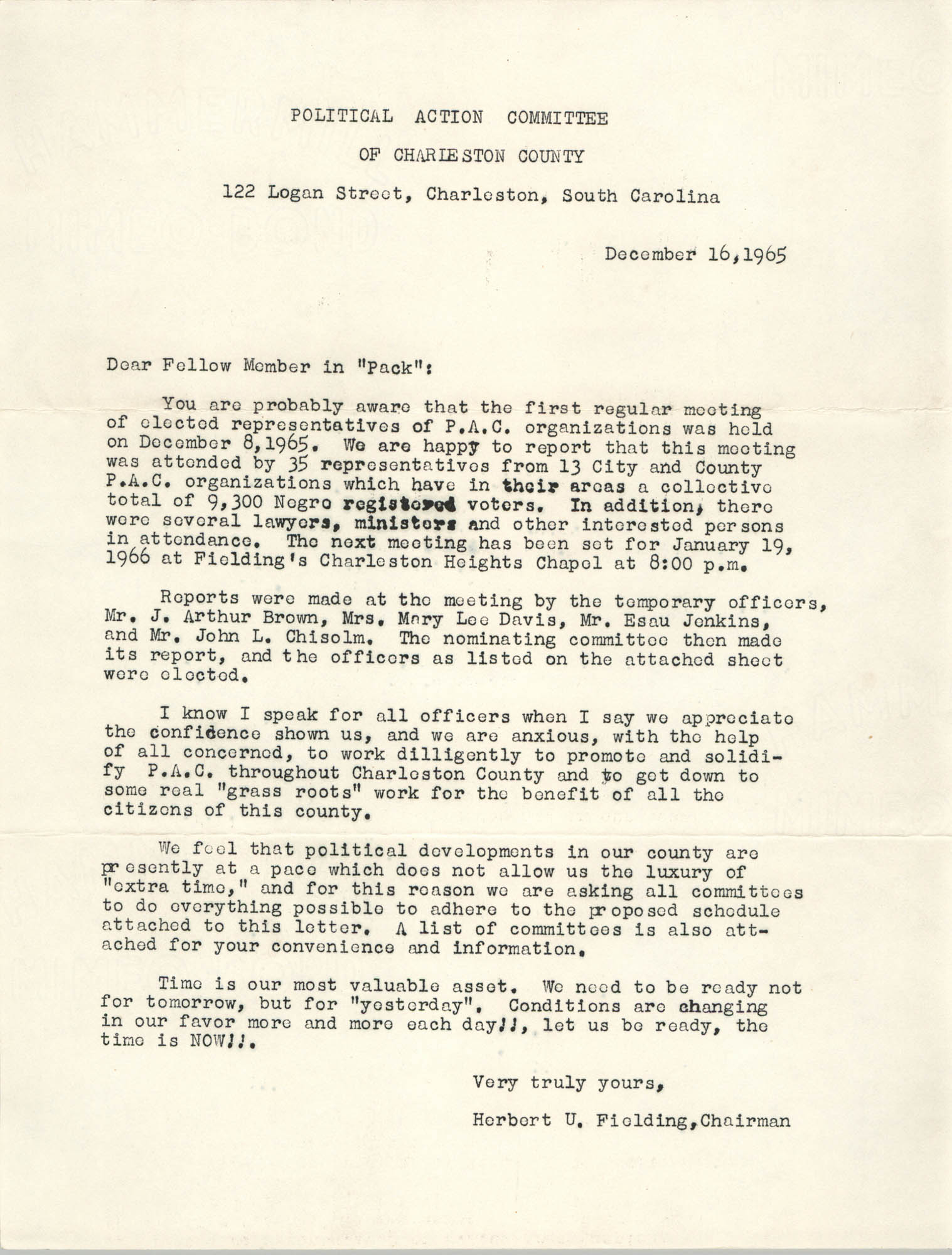 Letter from Herbert U. Fielding to