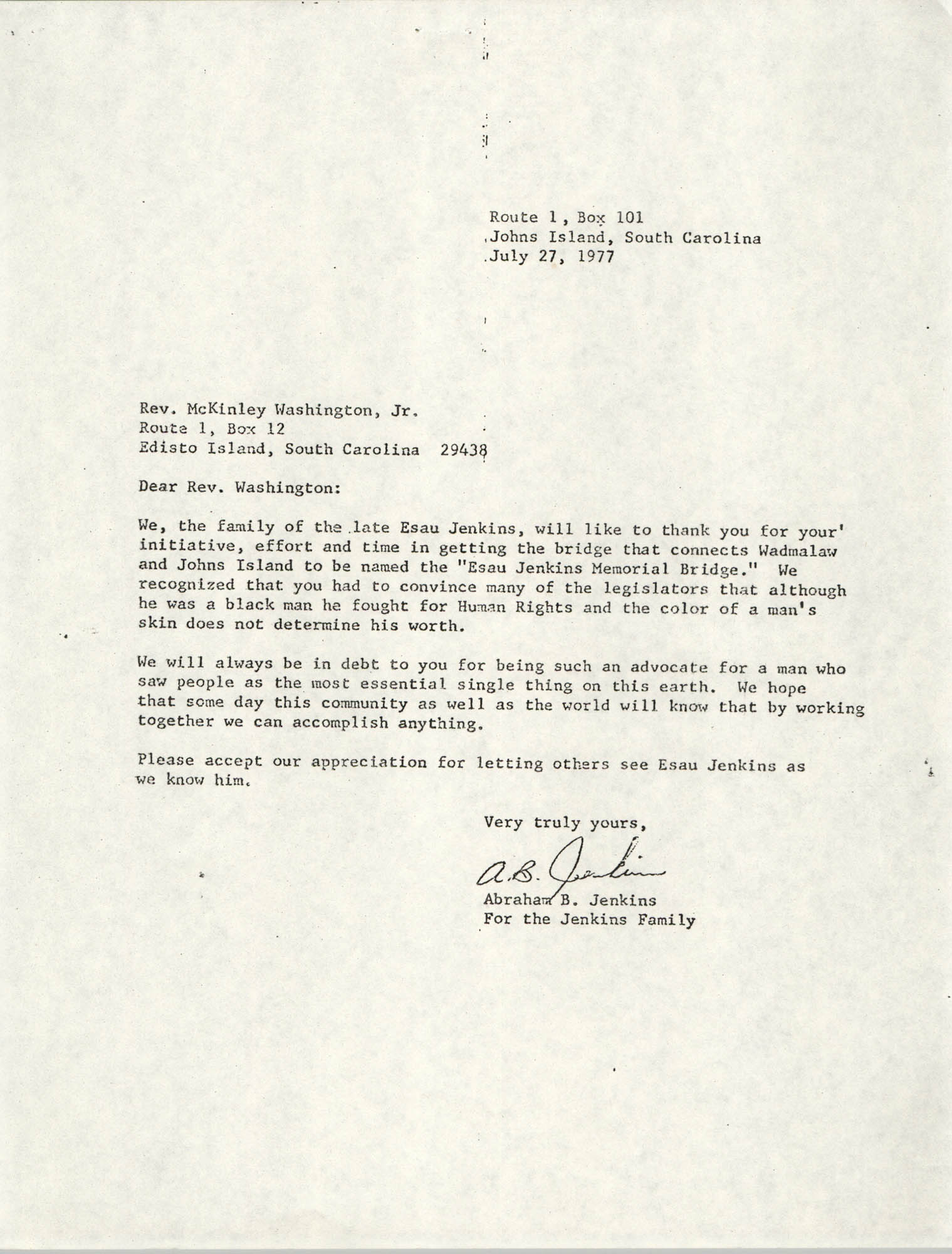 Letter from McKinley Washington, Jr. to Abraham B. Jenkins, July 27, 1977