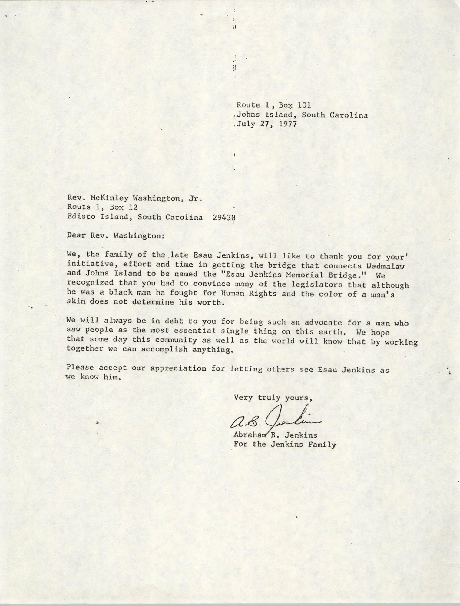 Letter from McKinley Washington, Jr. to Abraham B. Jenkins, July 27, 1977