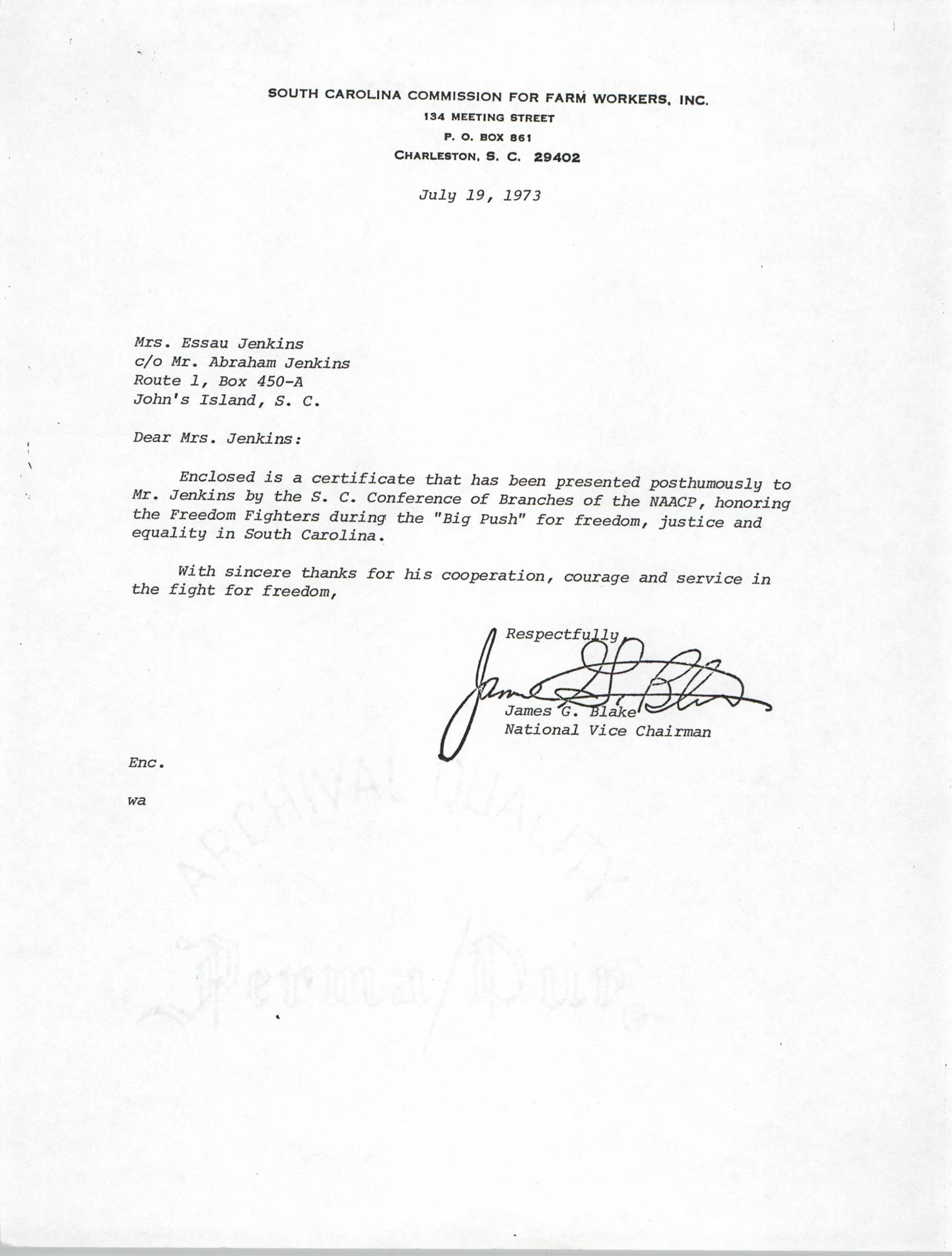 Letter from James G. Black to Esau Jenkins, July 19, 1973