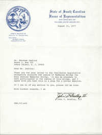Letter from John D. Bradley, III to Abraham Jenkins, August 15, 1977