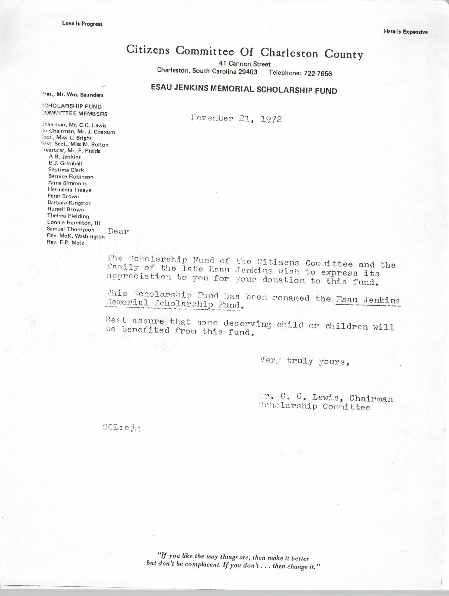Esau Jenkins Memorial Scholarship Fund Correspondence Draft, November 21, 1972