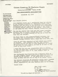 Esau Jenkins Memorial Scholarship Fund Correspondence, November 25, 1972