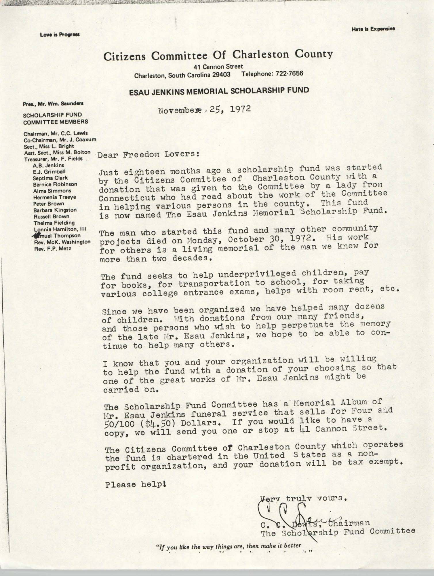 Esau Jenkins Memorial Scholarship Fund Correspondence, November 25, 1972