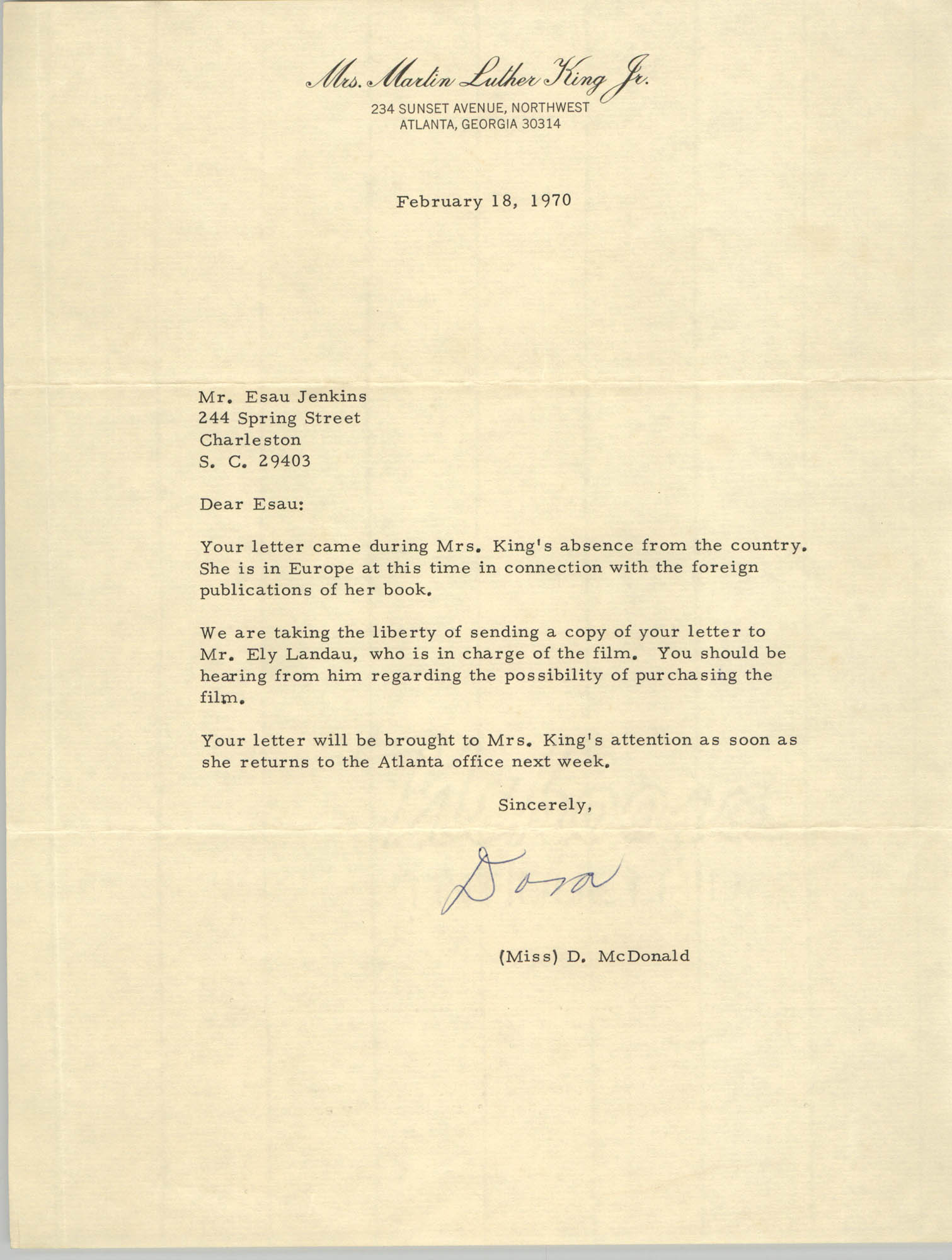 Letter from D. McDonald to Esau Jenkins, February 18, 1970