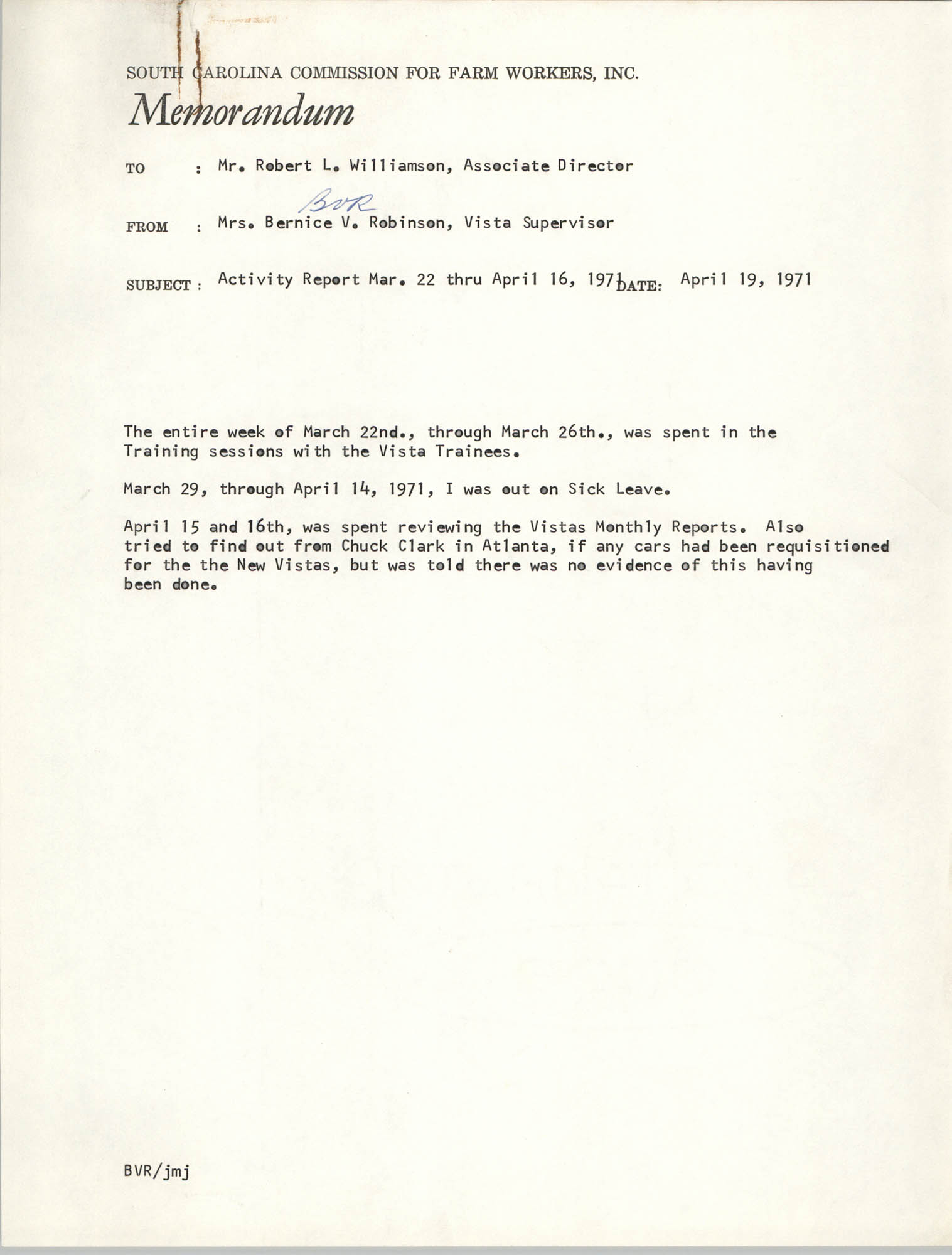 Memorandum from Bernice V. Robinson to Robert Williamson, April 19, 1971