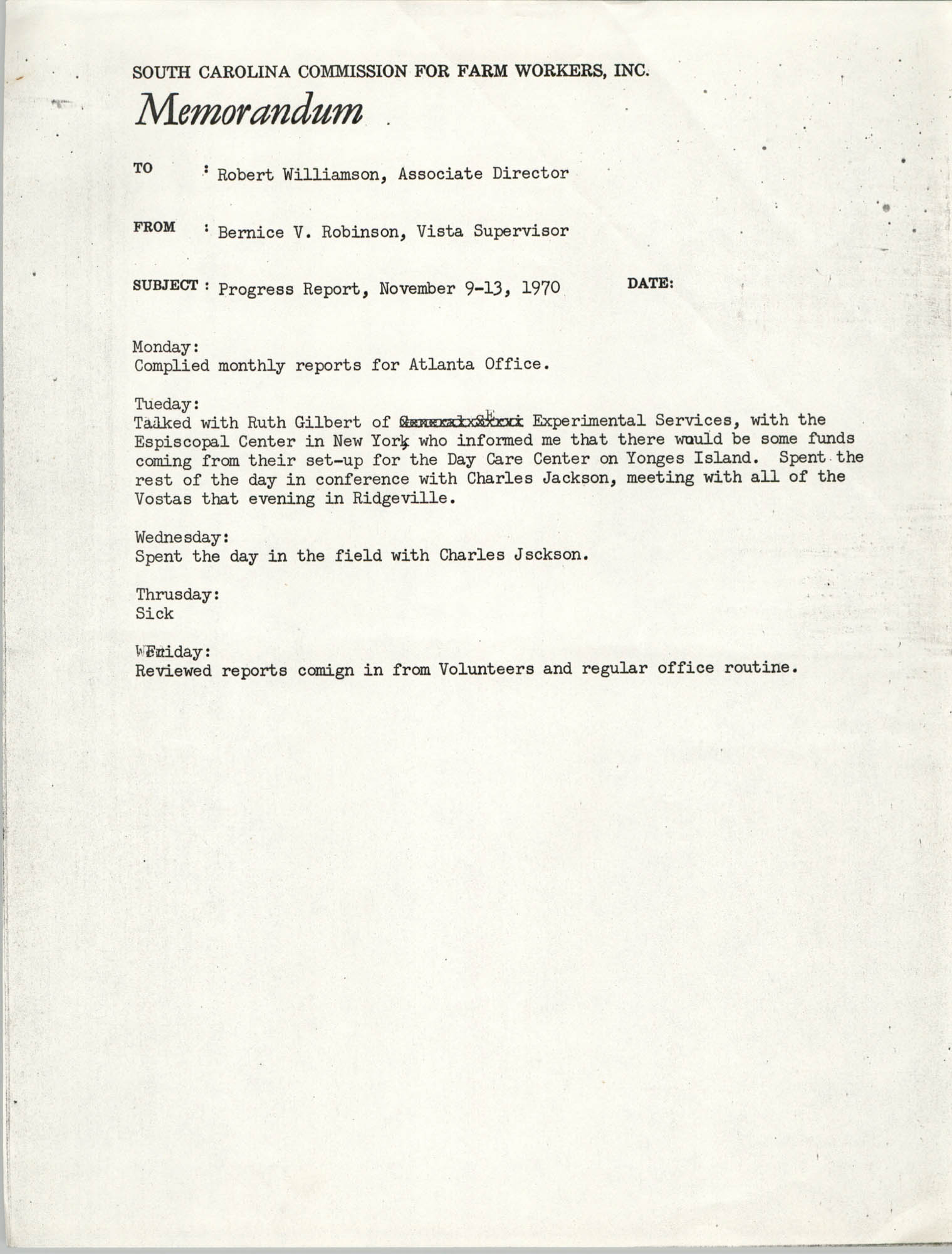 Memorandum from Bernice V. Robinson to Robert Williamson, November 1970