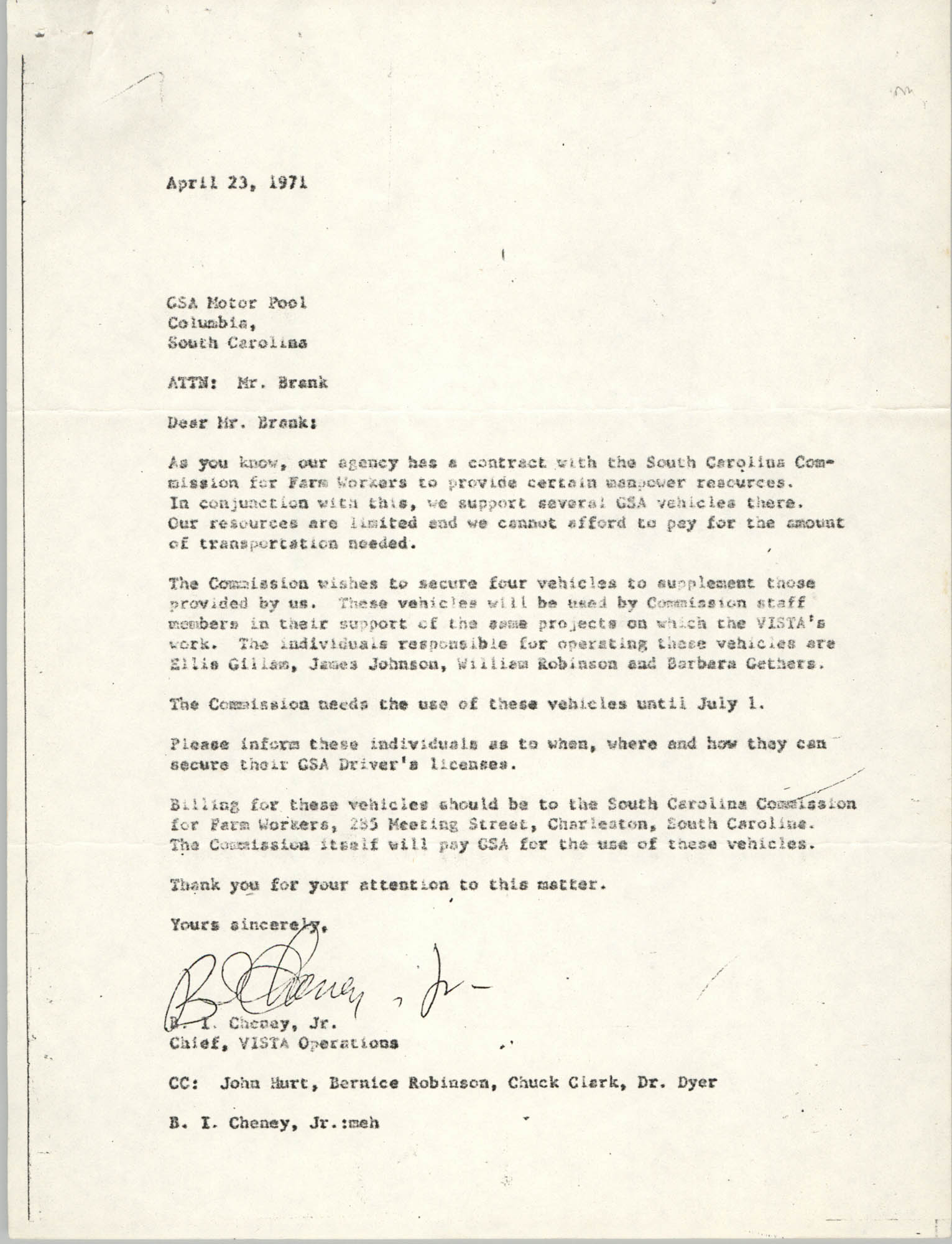 Letter from B. I. Cheney, Jr. to GSA Motor Pool, April 23, 1971