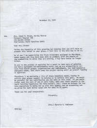 Letter from Bernice V. Robinson to Ethel R. Brown, November 20, 1970