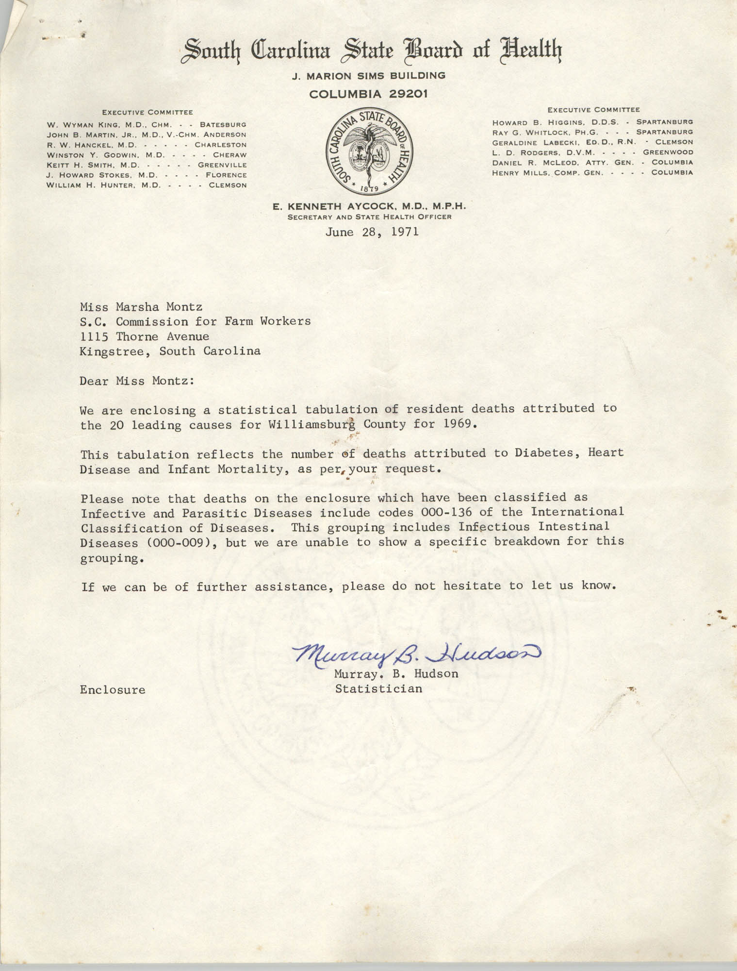 Letter from Murray B. Hudson to Marsha Montz, June 28, 1971