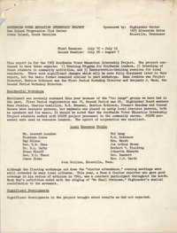 1965 Southwide Voter Education Internship Project Workshop Report and Program