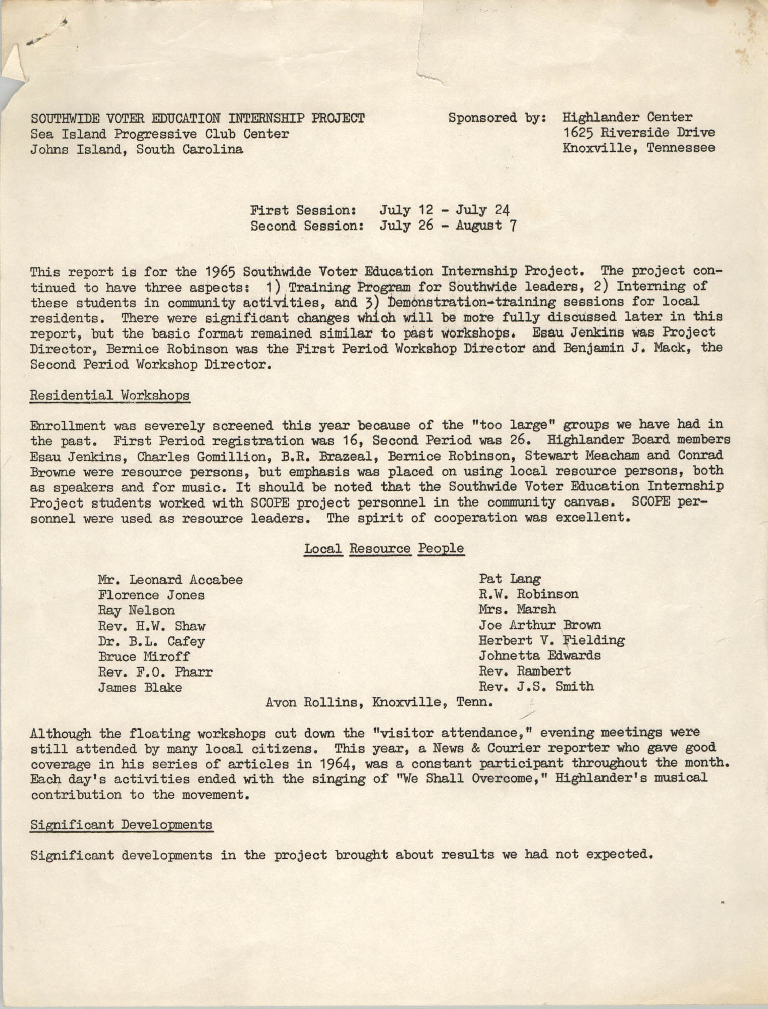 1965 Southwide Voter Education Internship Project Workshop Report and Program