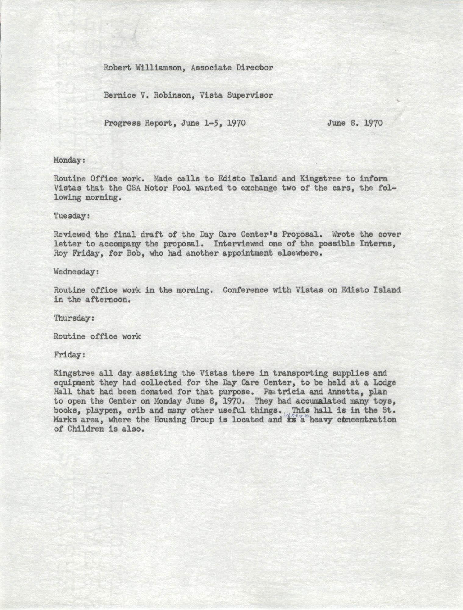 VISTA Progress Report, June 1-5, 1970