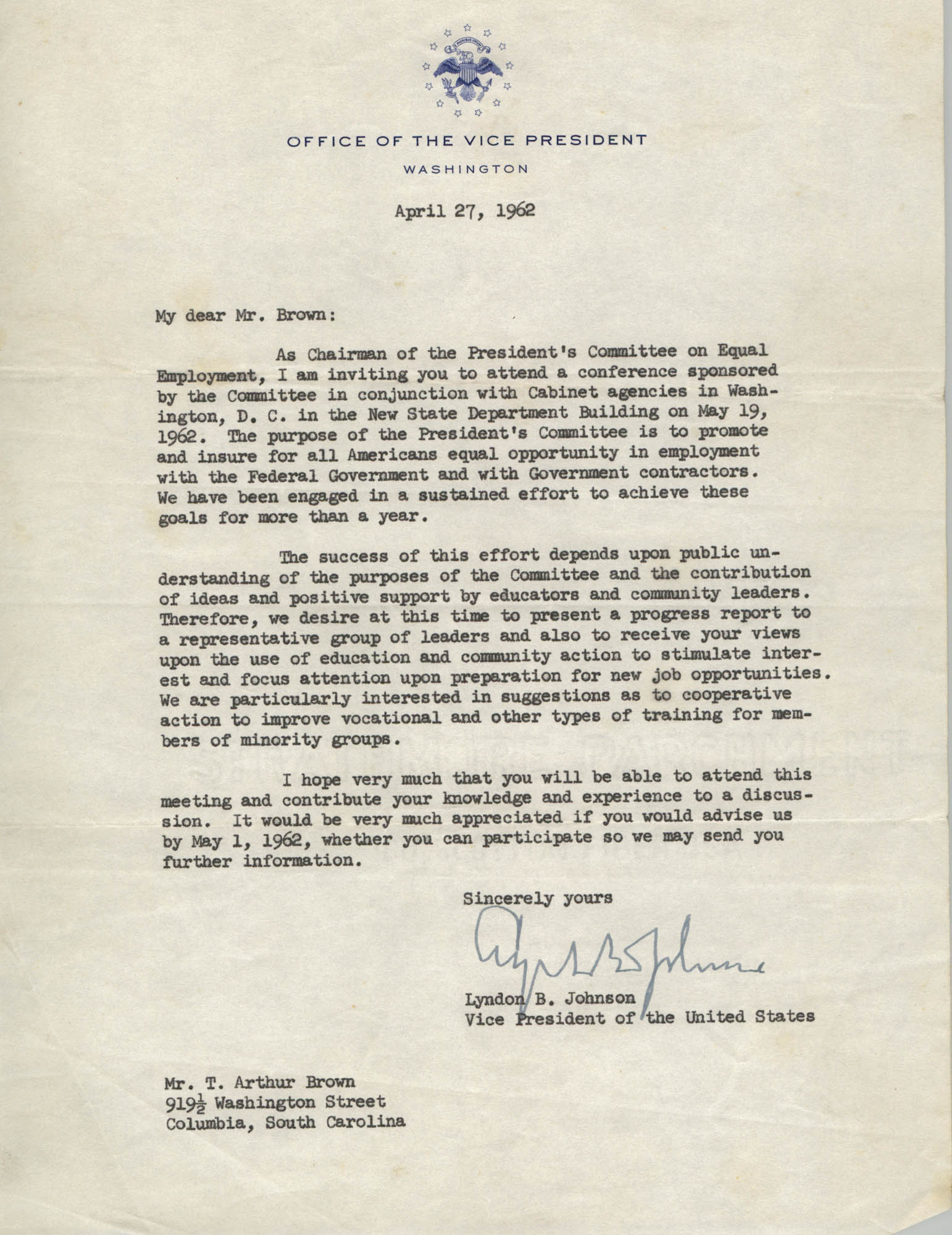 Letter from Lyndon B. Johnson to J. Arthur Brown, April 27, 1962