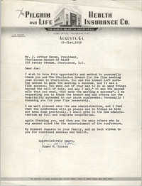 Letter from James M. Hinton to J. Arthur Brown, October 21, 1958