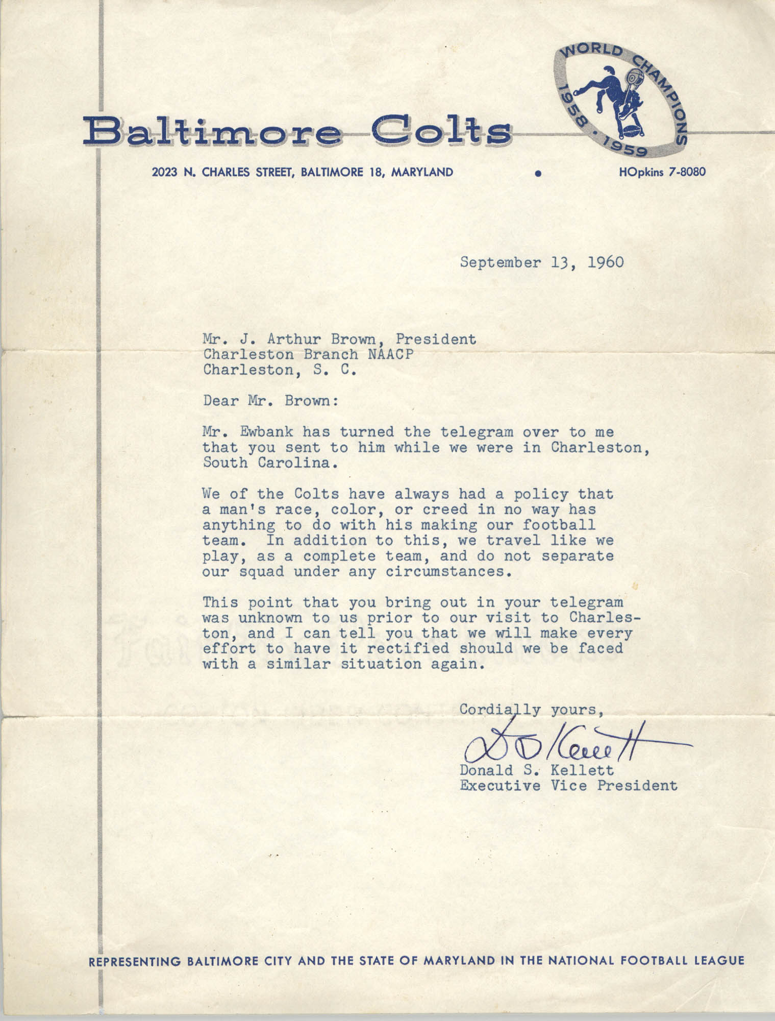 Letter from Donald S. Kellett to J. Arthur Brown, September 13, 1960