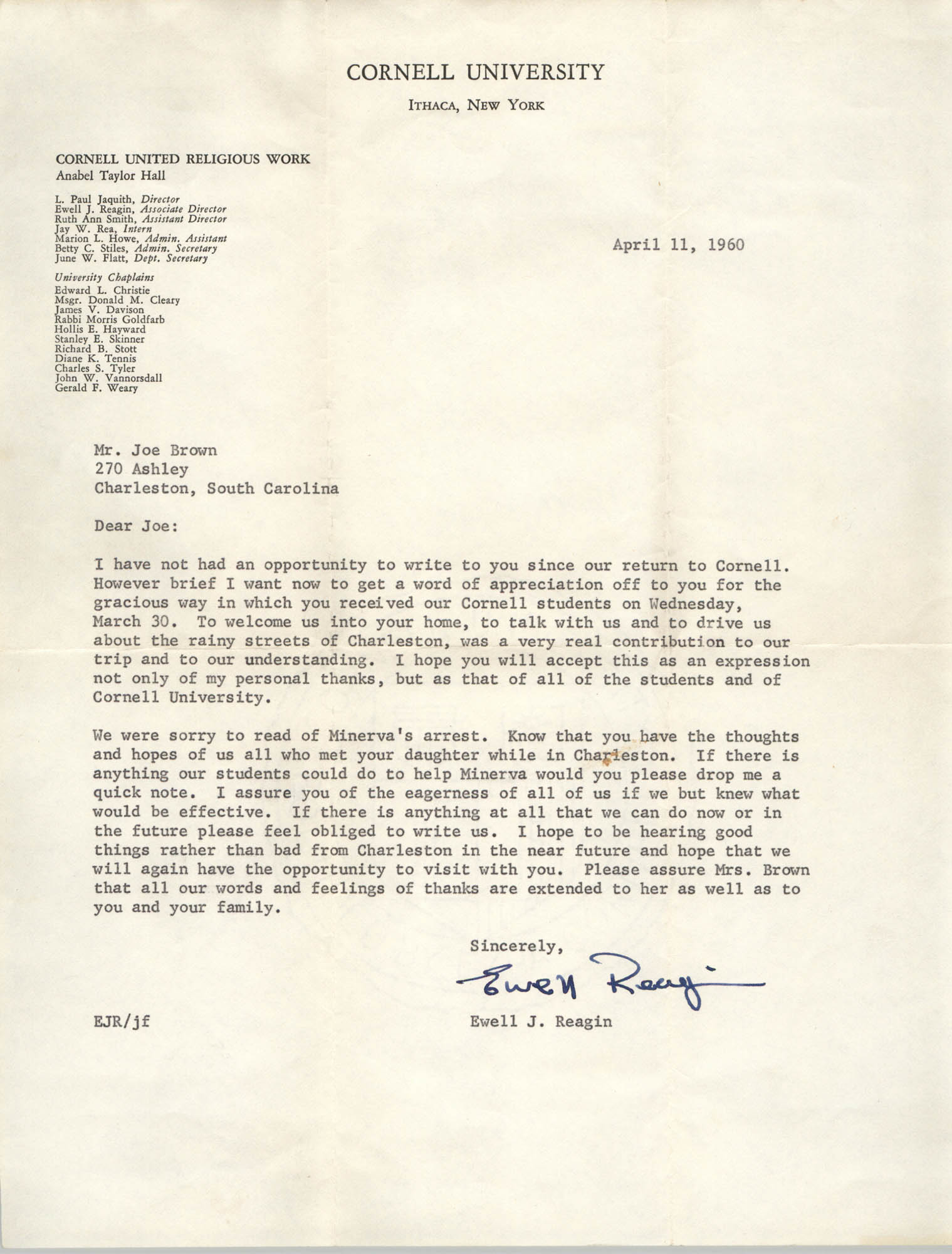 Letter from Ewell J. Reagin to J. Arthur Brown, April 11, 1960