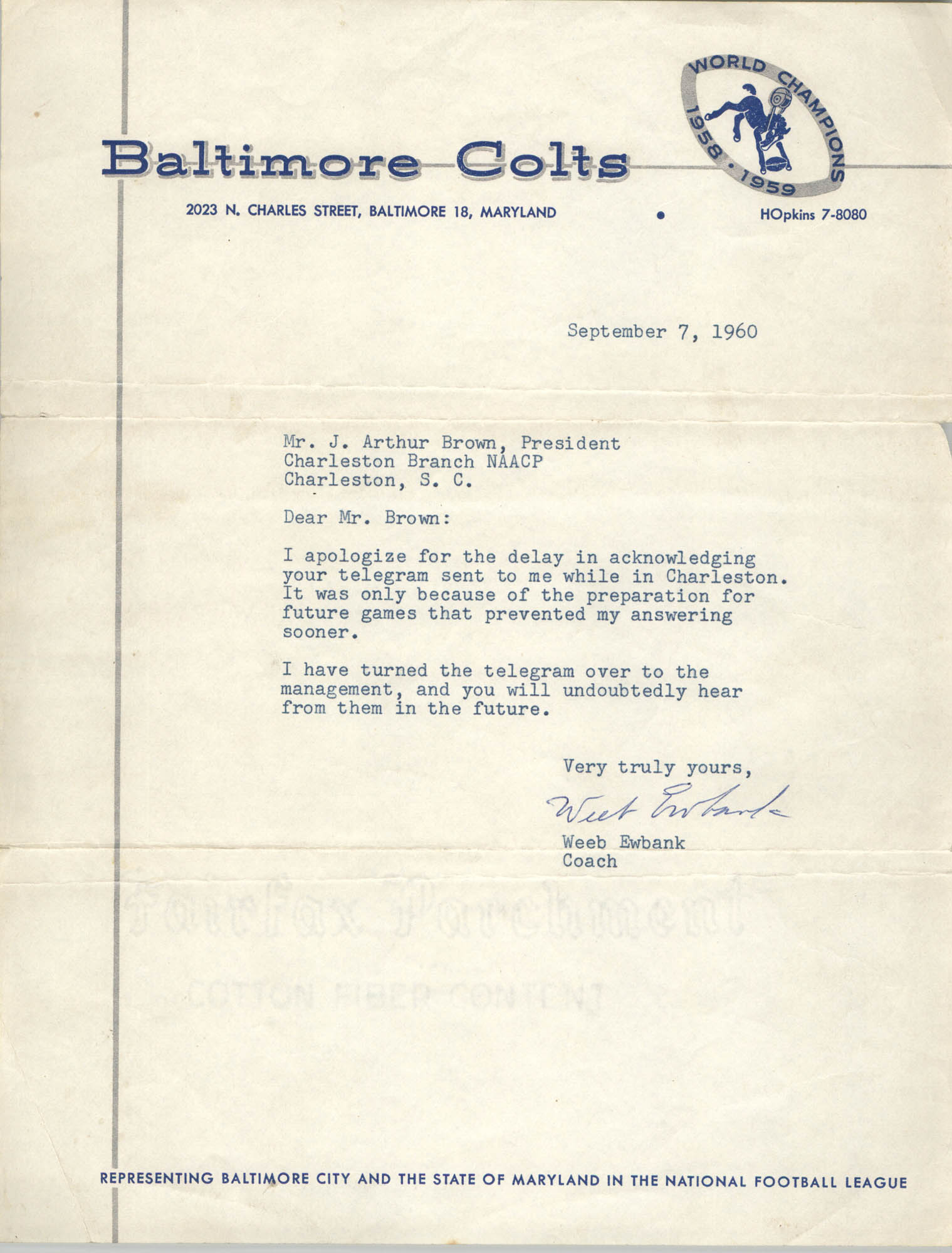 Letter from Weeb Ewbank to J. Arthur Brown, September 7, 1960