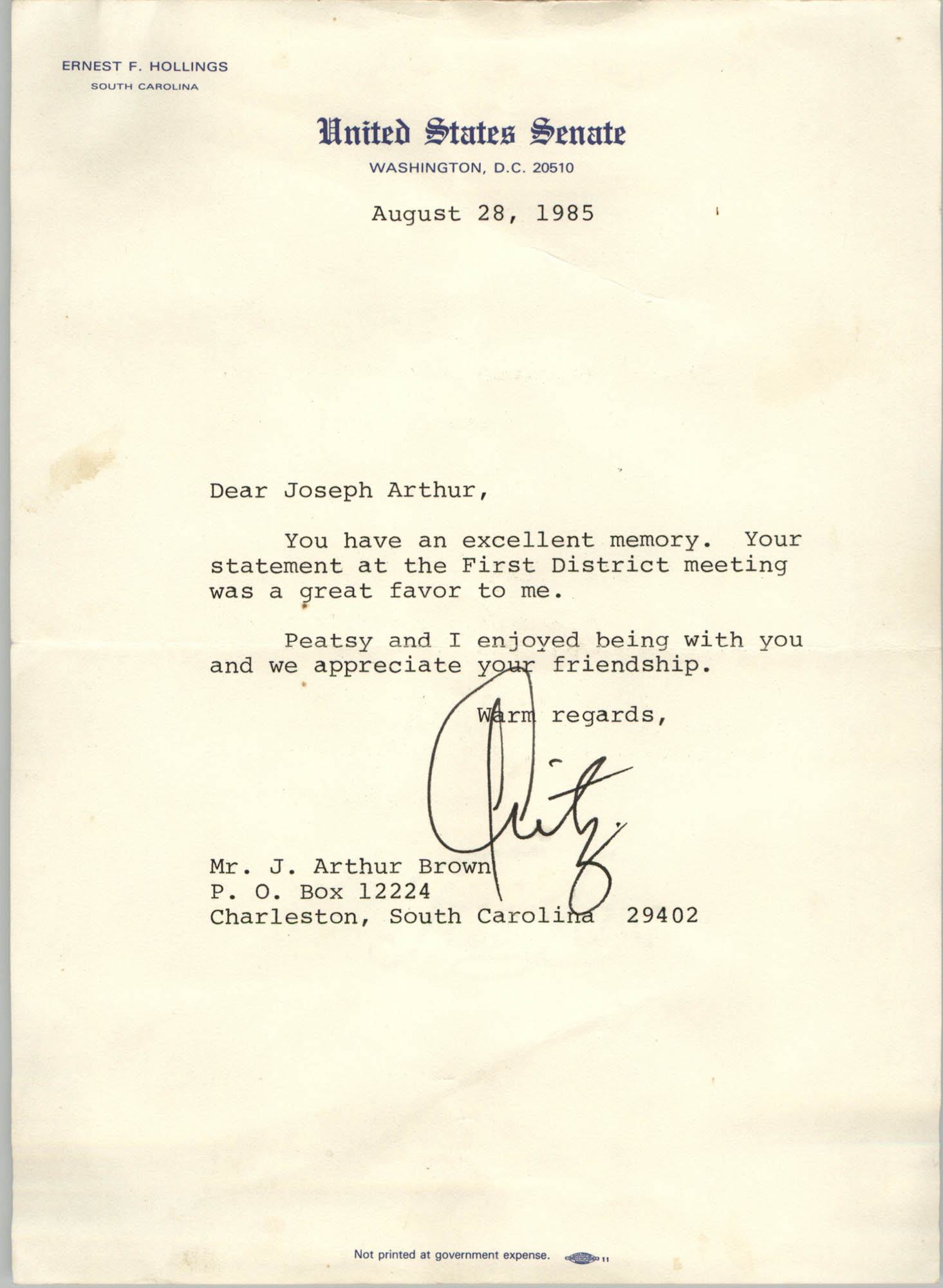 Letter from Ernest F. Hollings to J. Arthur Brown, August 28, 1985