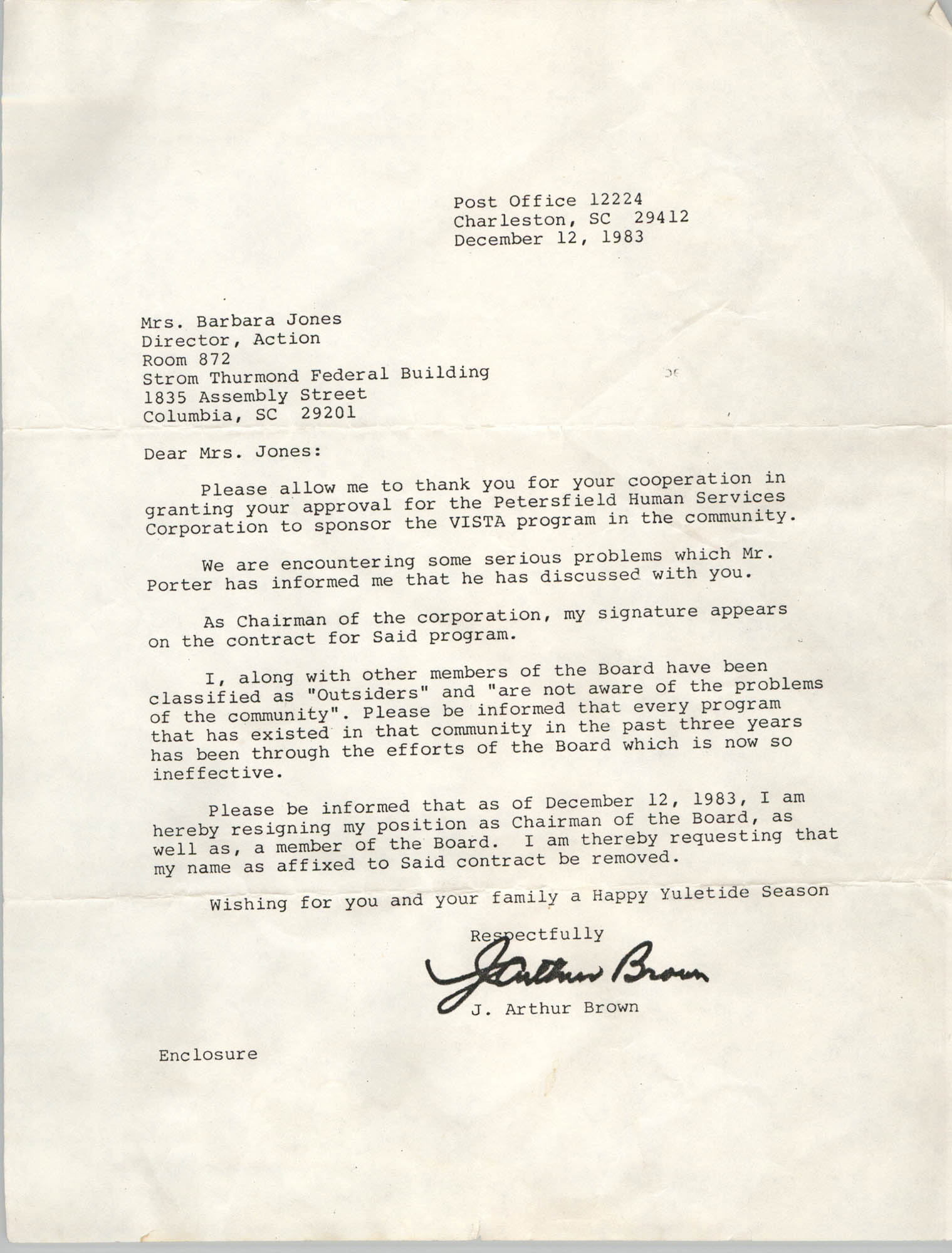 Letter from J. Arthur Brown to Barbara Jones, December 12, 1983