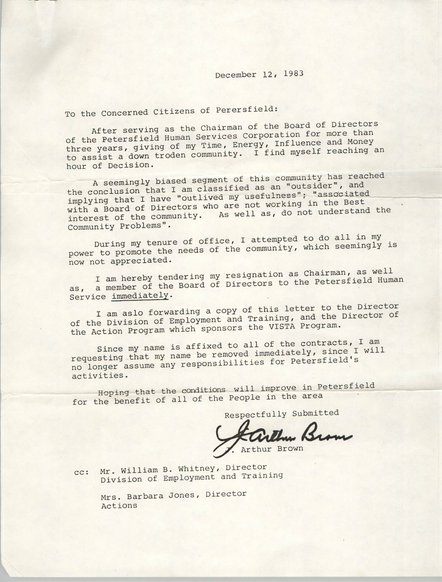 Letter from J. Arthur Brown to Citizens of Petersfield, December 12, 1983
