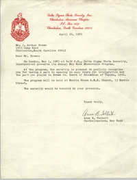 Letter from Anna B. Tolbert to J. Arthur Brown, April 24, 1983