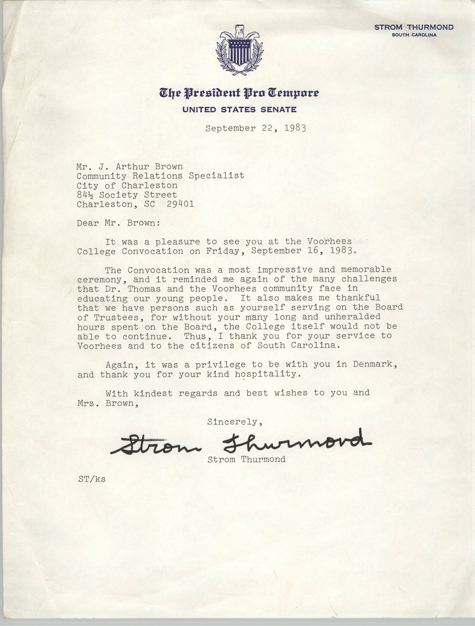 Letter from Strom Thurmond to J. Arthur Brown, September 22, 1983